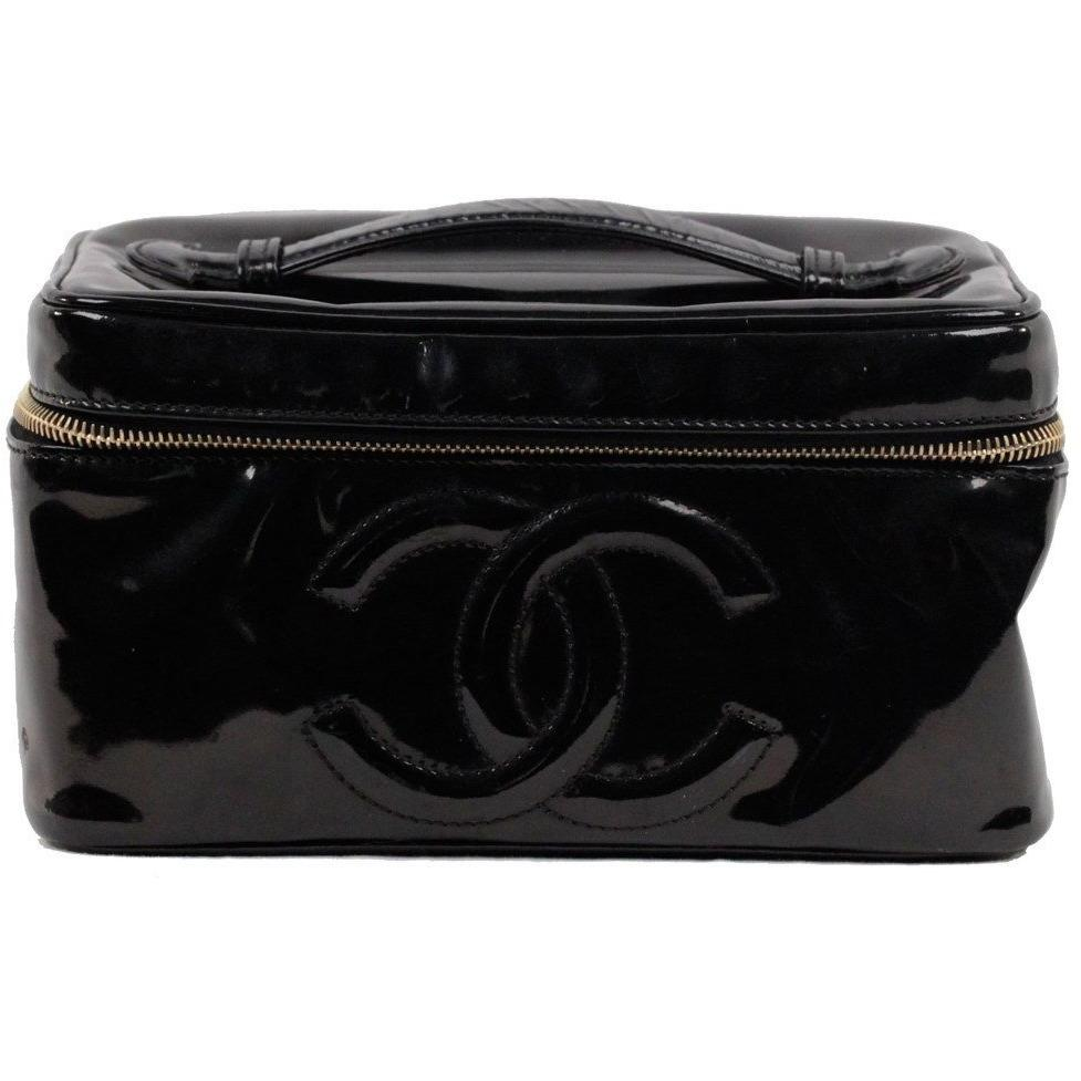 Image Is Loading Authentic Chanel Black Patent Leather Cosmetic Bag Vanity