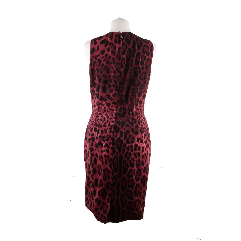 f53ac3c2 Details about Authentic Dolce & Gabbana Purple Leopard Silk Sleeveless Dress  Size 40