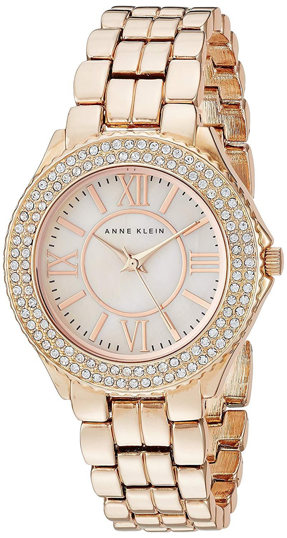 d5f11cf1c11 Anne Klein Womens Swarovski Crystal Accented Rose Gold-Tone Bracelet Watch