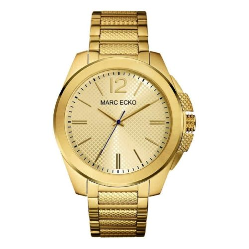 dafaa2ae00a Marc Ecko Mens The Hudson 3 Hand All Gold Tone Stainless Steel Textured  Watch