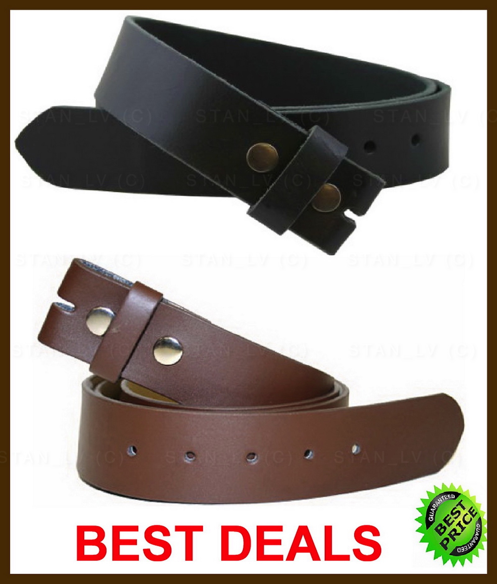 """Big and Tall Belts Genuine Full Grain Leather Belt Strap 1-1//2/"""" wide Snap on"""