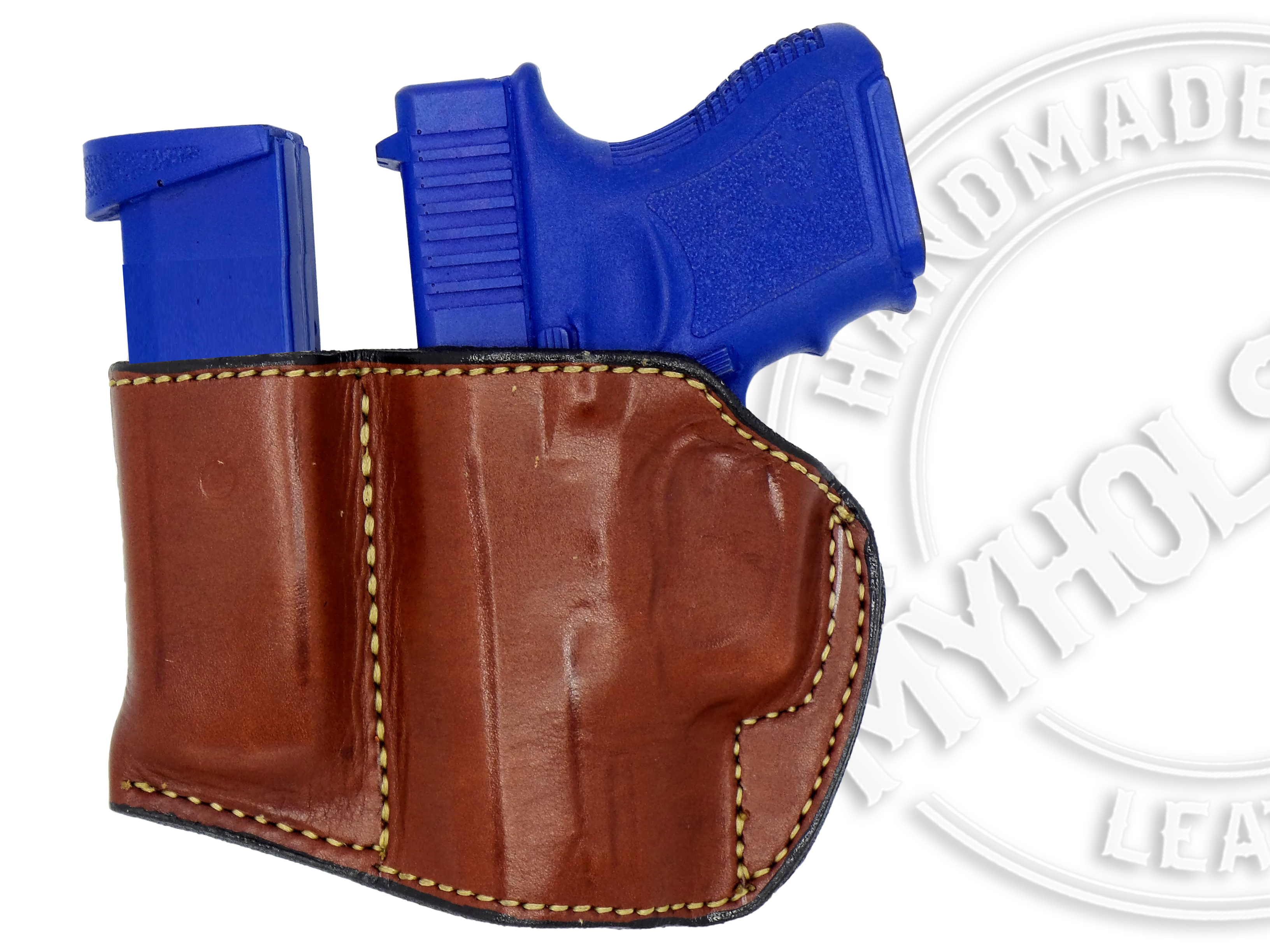 Holster-and-Mag-Pouch-Combo-OWB-Leather-Belt-Holster-Fits-S-amp-W-M-amp-P-Shield-9-40 thumbnail 3