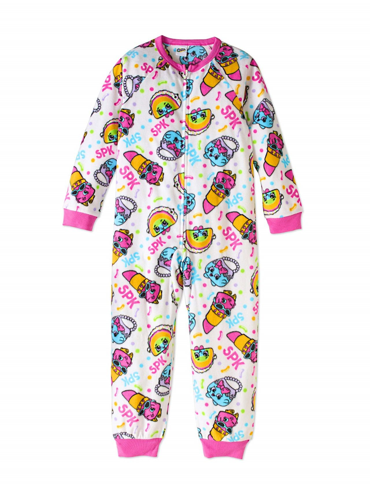 ed95e4b1fc A super cute and colorful Shopkins print throughout .Magenta ribbed collar  and cuff trim. Full front zipper. Footless Of a soft and cozy polyester  fleece