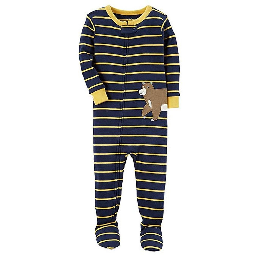 d674054ab7c7 Carter s Boy s Navy Striped Grizzly Bear Cotton Footed Pajama ...