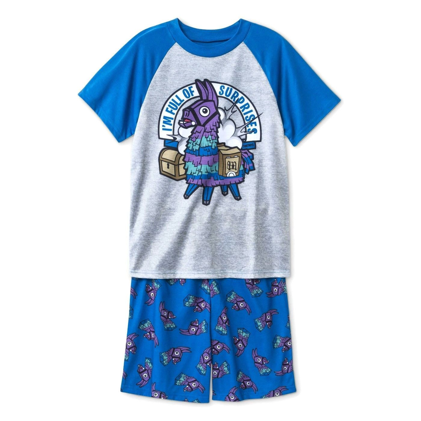 12 Large Boys 3 Piece Set Shirt,Shorts,Pant Loot Llama Fortnite Pajamas Size 10