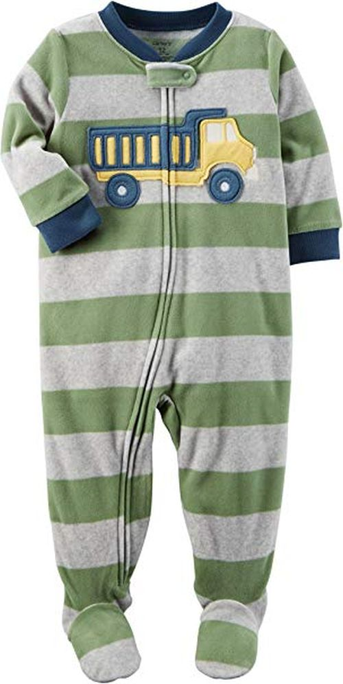 a1a4a48cf168 Carter s Toddler Boy s Fleece Striped Dumptruck Footed Pajama ...