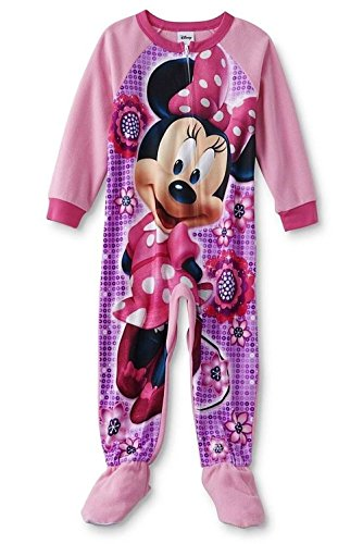 4e0f6fb7542e Minnie Mouse Girl s 4T Pink Floral Fleece Footed Pajama Sleeper ...