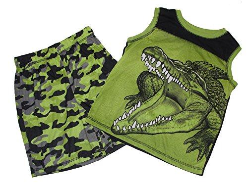 Boy/'s Camouflage Dinosaur T-Rex Skeleton Pajama Shorts Set