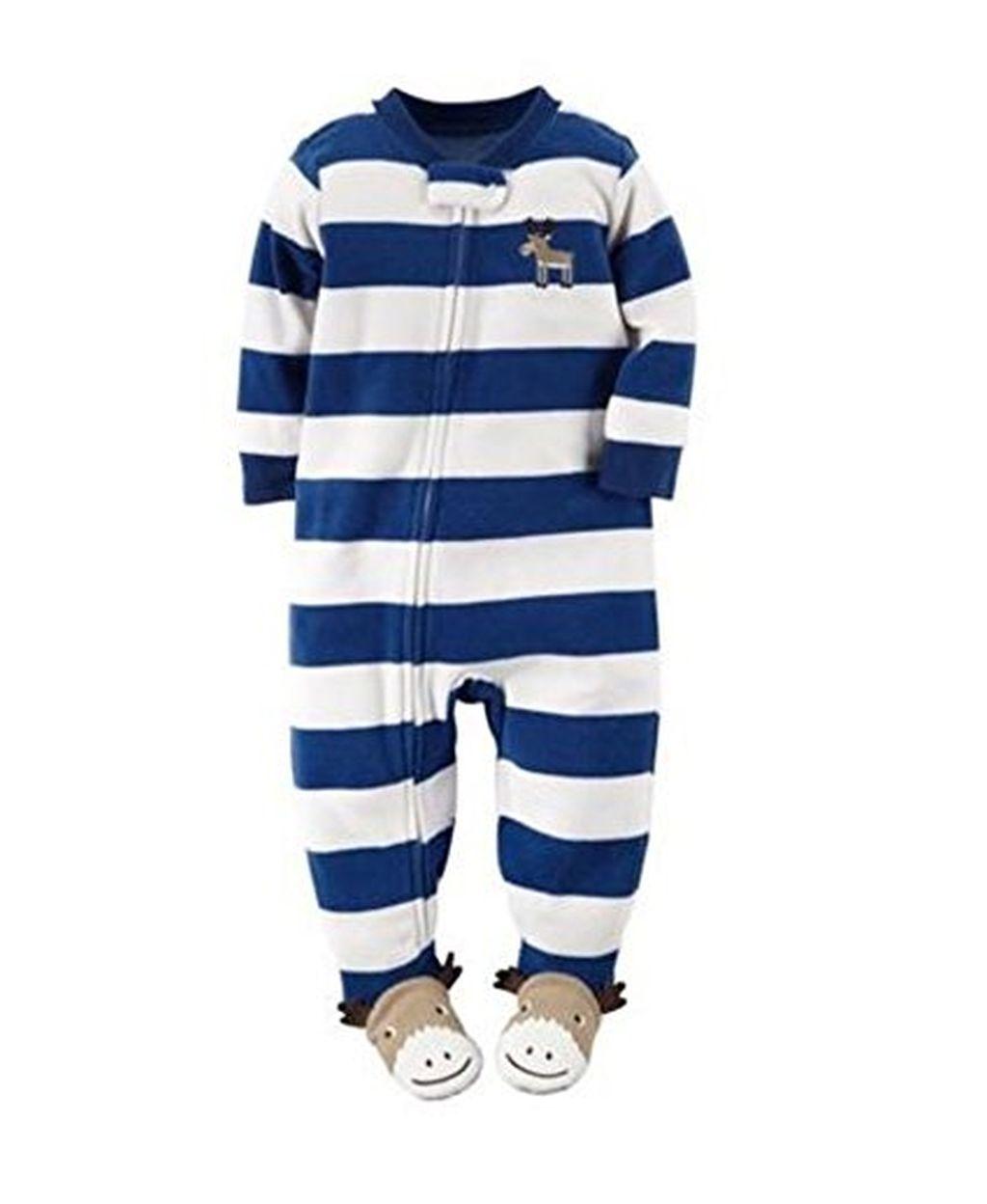 f58fdfe689f1 Carter s Boy s Size 2T Fleece Striped Moose Blanket Pajama Sleeper ...