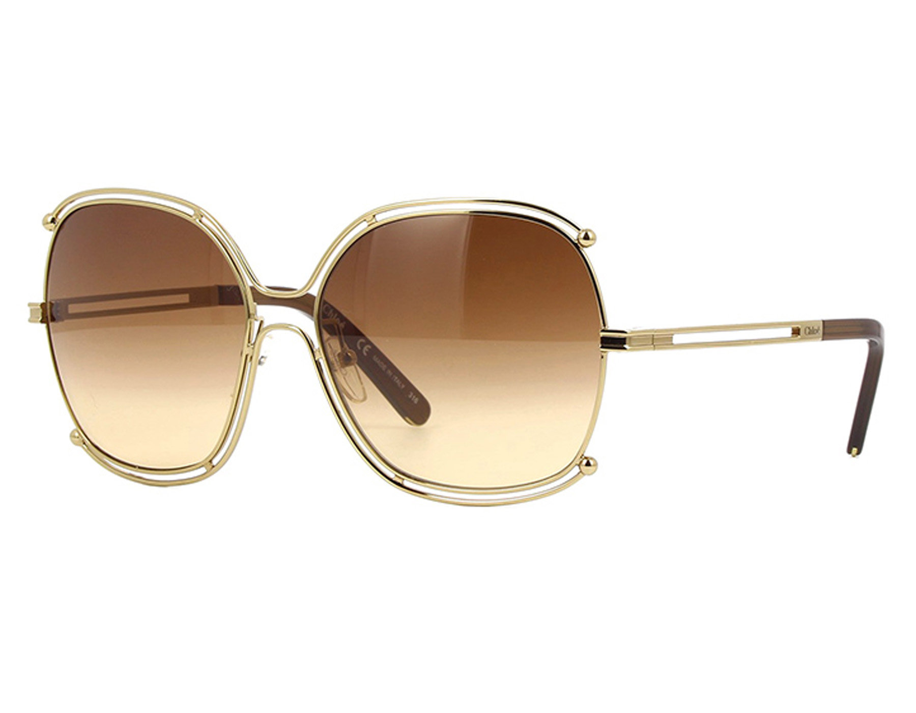 2a614be3d4 Details about NEW Chloe CE129S-784-5916 CE129S-784-5916 Gold Transparent  Brown Sunglasses