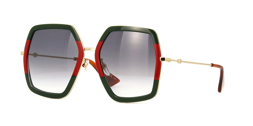 f0260b6bcb6 Details about NEW Gucci GG0106S-007-56 Red Striped Green Gold Sunglasses