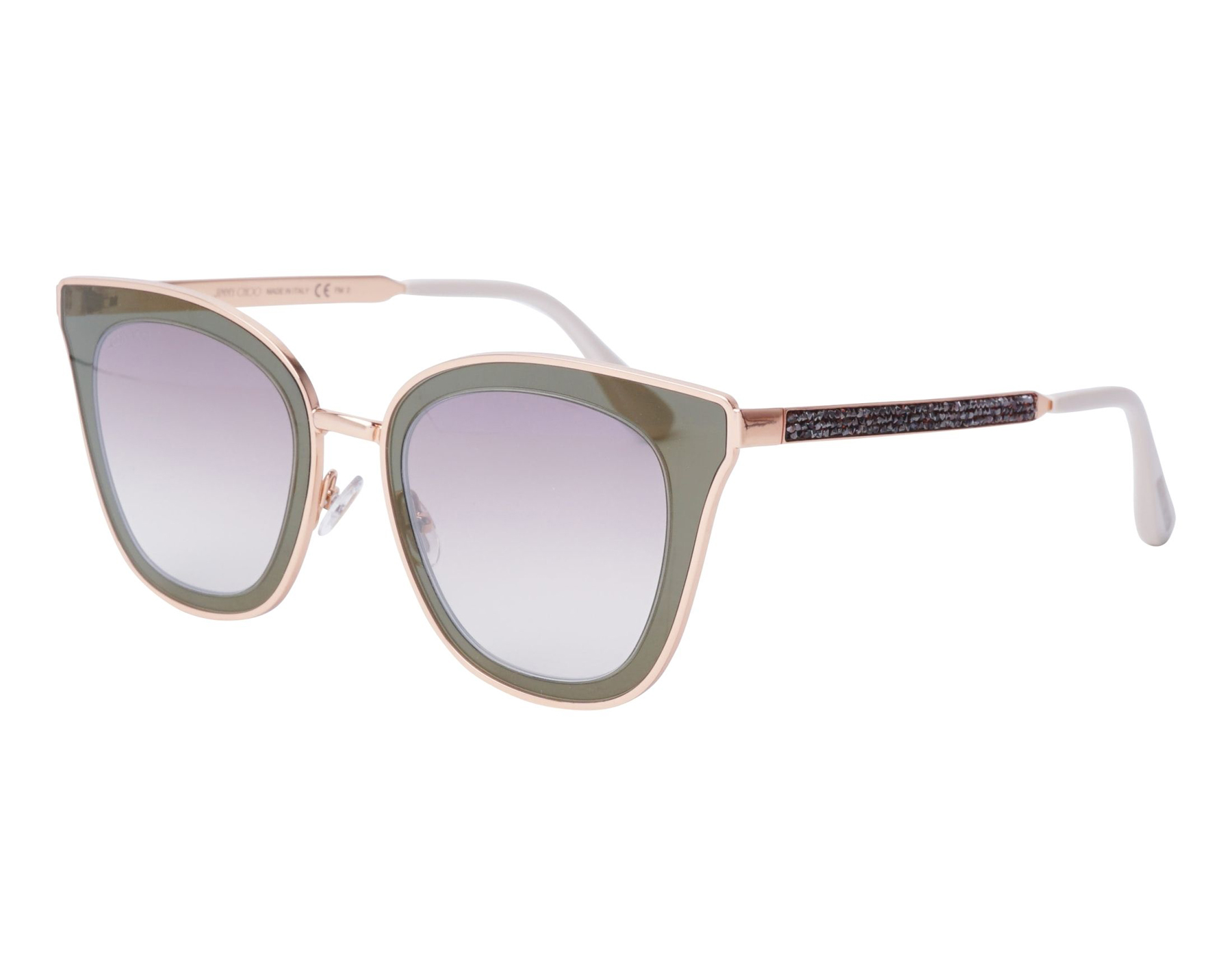 a8732e499aff Details about NEW Jimmy Choo Lory YK9 NQ Gold Brown Glitter   Grey Brown  Sunglasses
