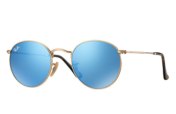 Details about New Ray Ban RB3447N-001 90-50 Shiny Gold   Light Blue Flash  50mm Sunglasses 6c819de47842