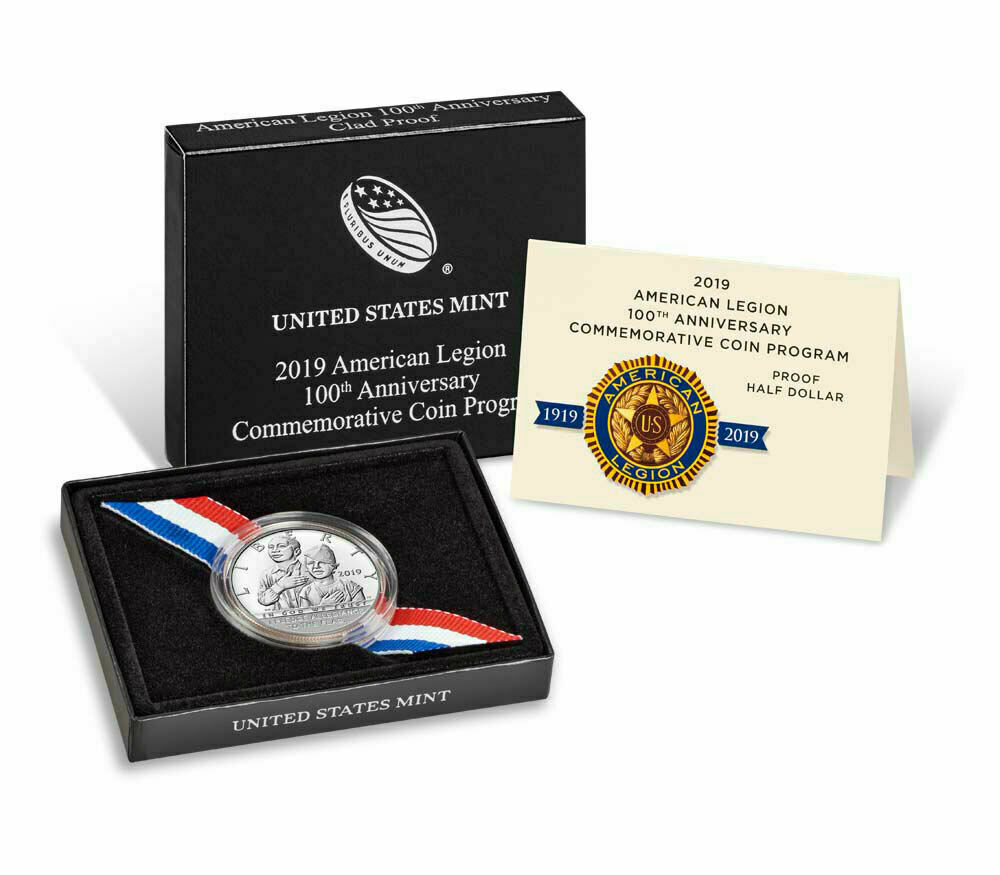 2019 BU American Legion 100th Anniversary Clad Half Dollar 50c Coin Box and COA