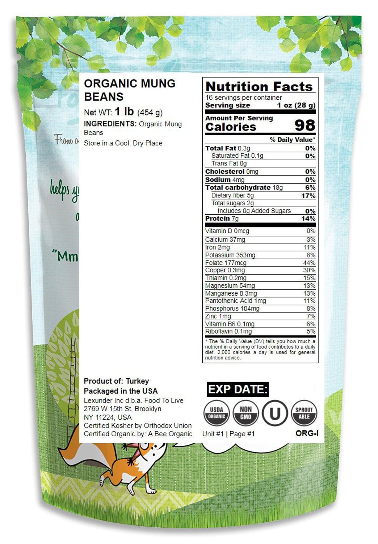 Kosher Food To Live ® Mung Beans