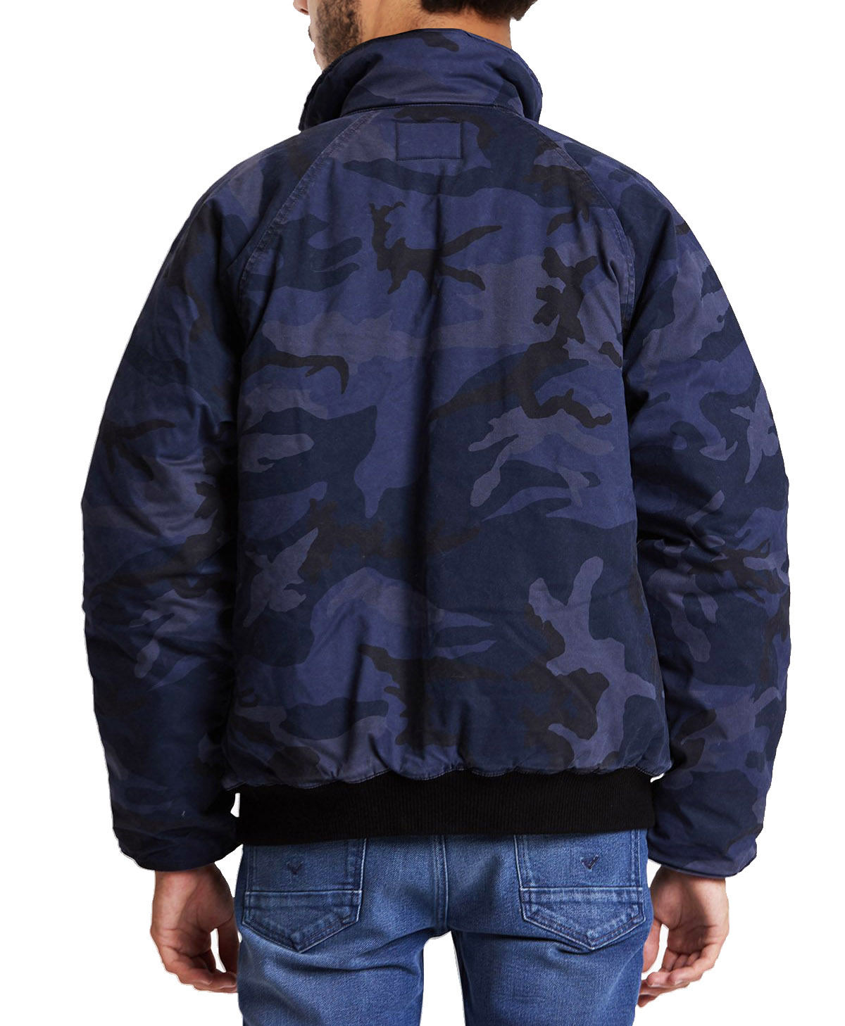 Hudson-Jeans-Blue-Camo-Army-Casual-Full-Zip-amp-Snap-Button-Front-Bomber-Jacket thumbnail 4