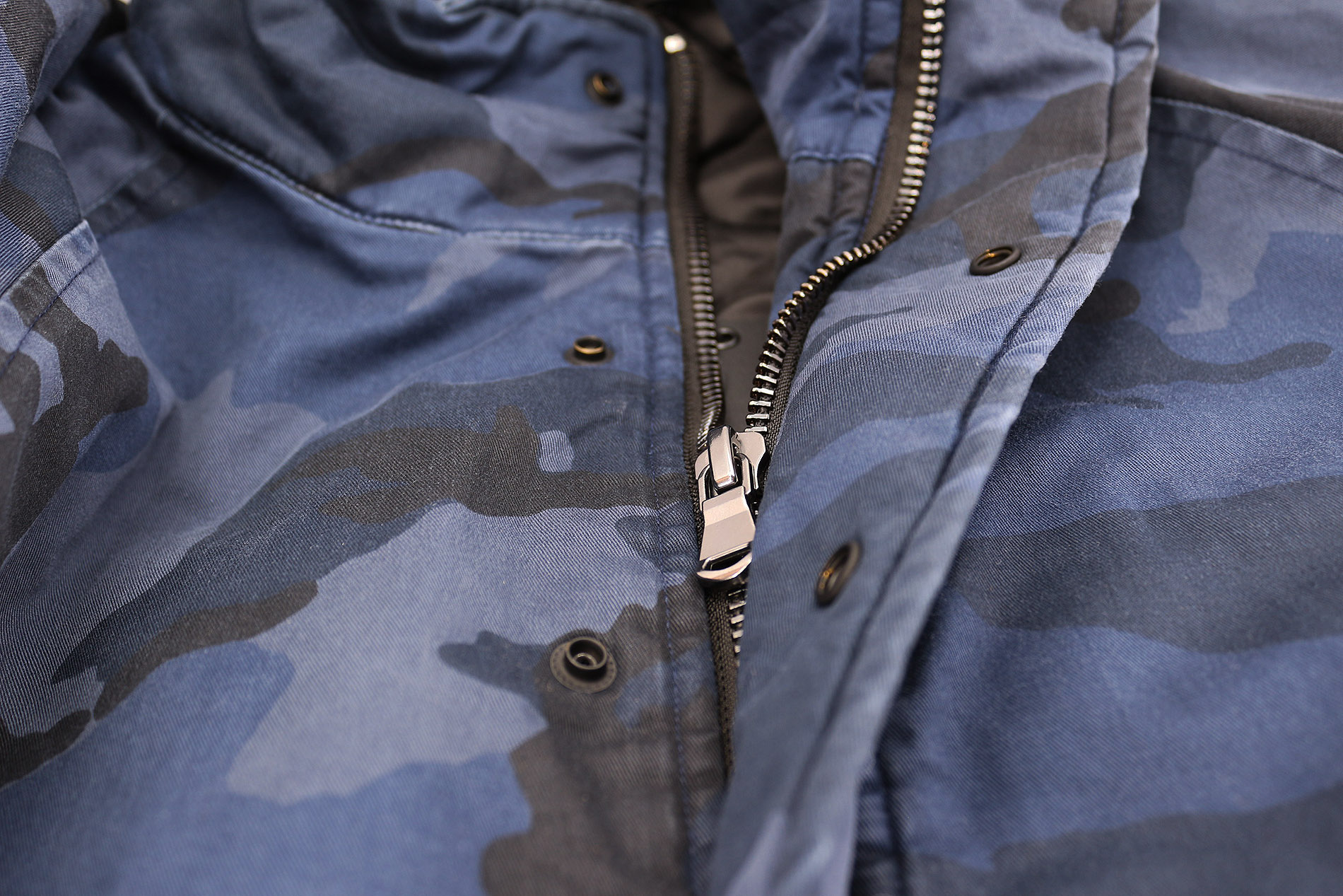 Hudson-Jeans-Blue-Camo-Army-Casual-Full-Zip-amp-Snap-Button-Front-Bomber-Jacket thumbnail 6