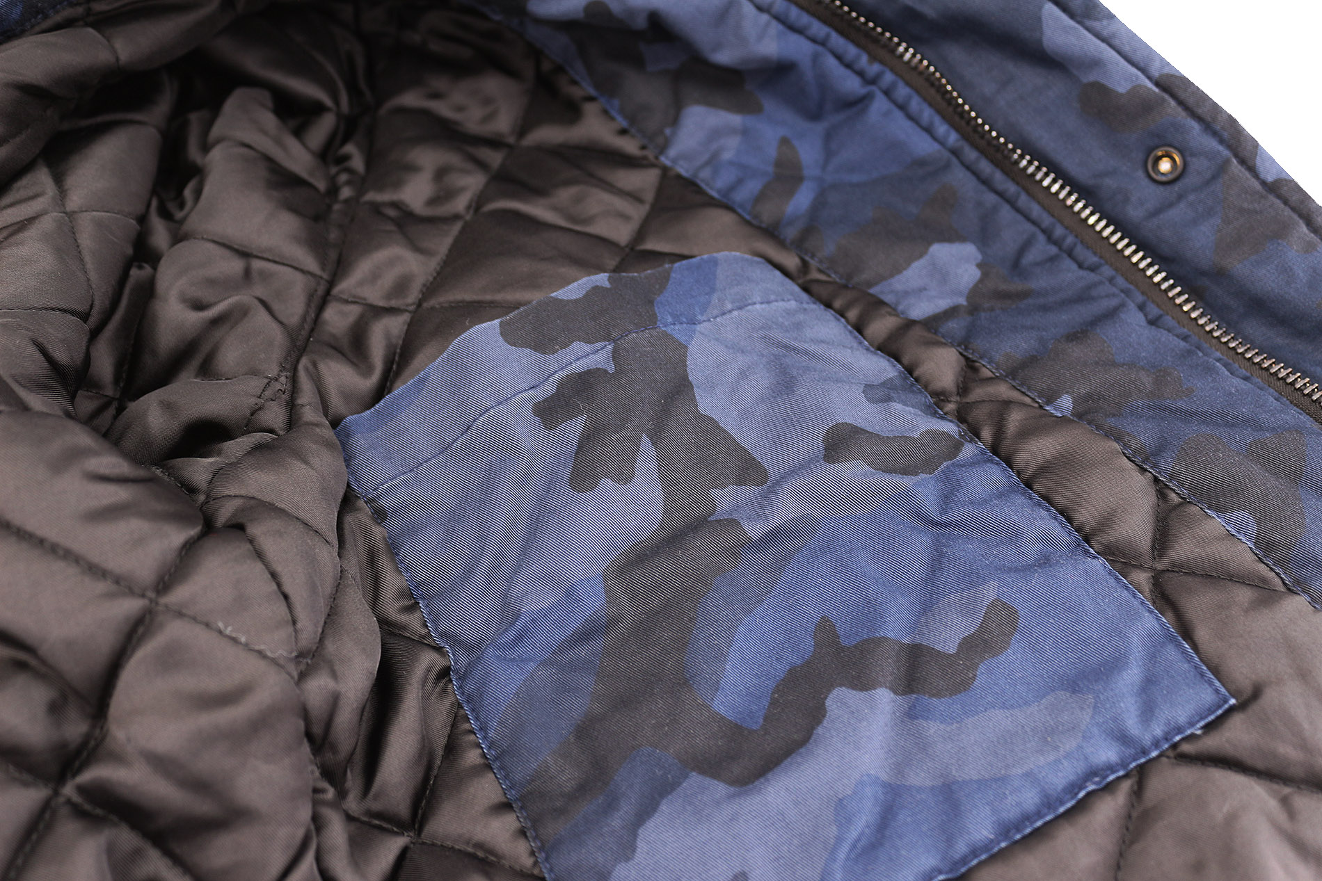 Hudson-Jeans-Blue-Camo-Army-Casual-Full-Zip-amp-Snap-Button-Front-Bomber-Jacket thumbnail 7