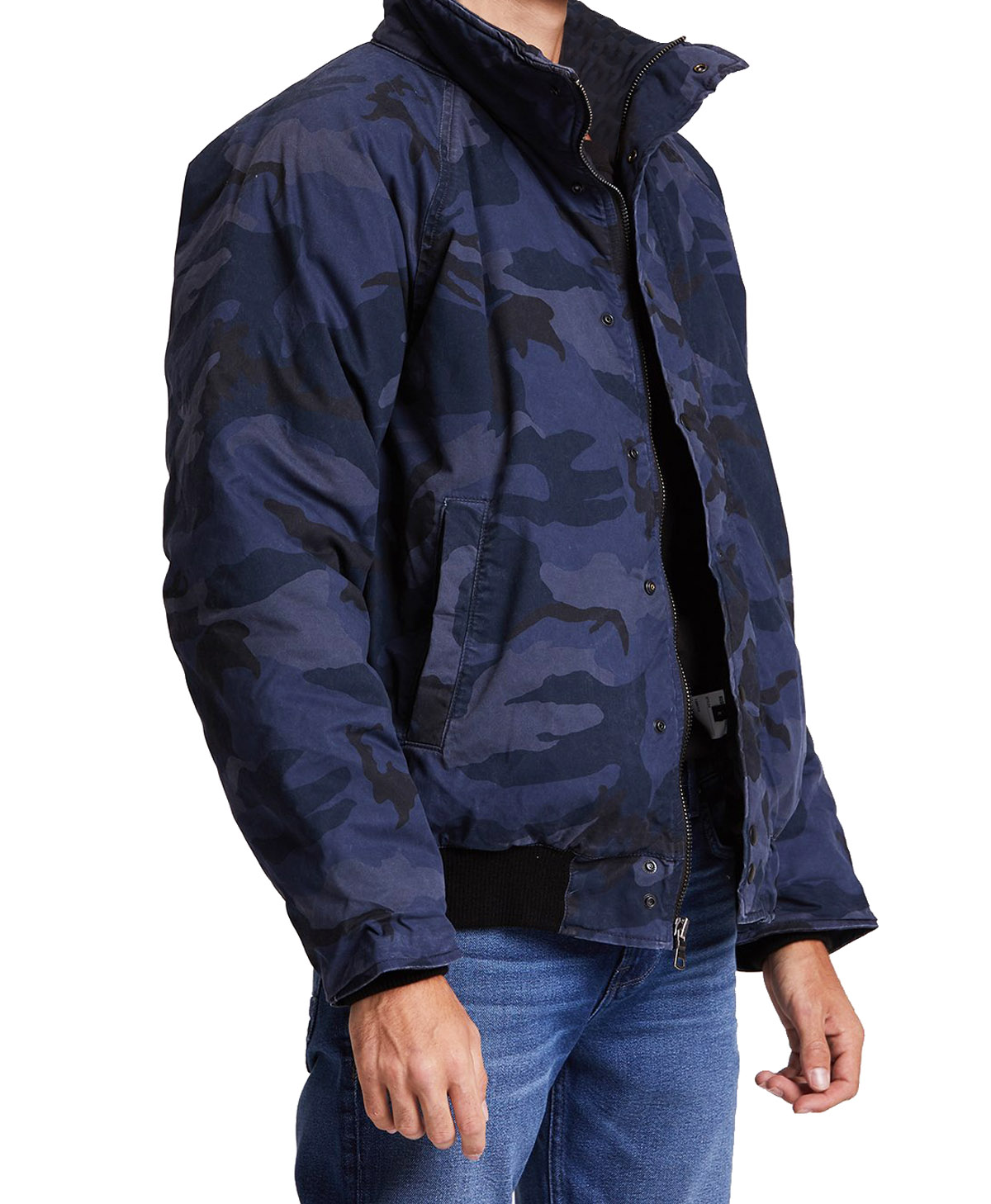 Hudson-Jeans-Blue-Camo-Army-Casual-Full-Zip-amp-Snap-Button-Front-Bomber-Jacket thumbnail 3