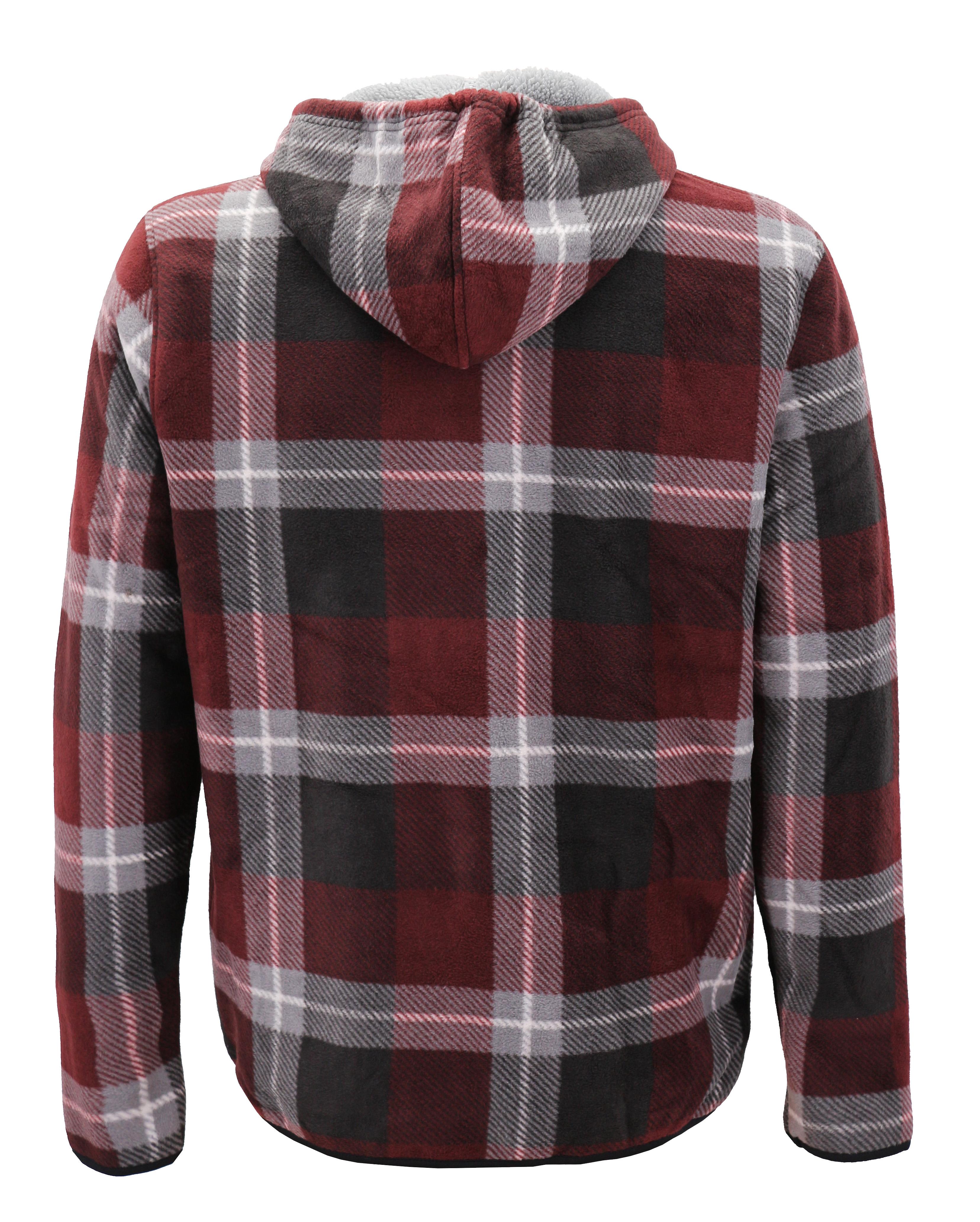 thumbnail 3 - Men-039-s-Casual-Flannel-Zip-Up-Fleece-Lined-Plaid-Sherpa-Hoodie-Lightweight-Jacket
