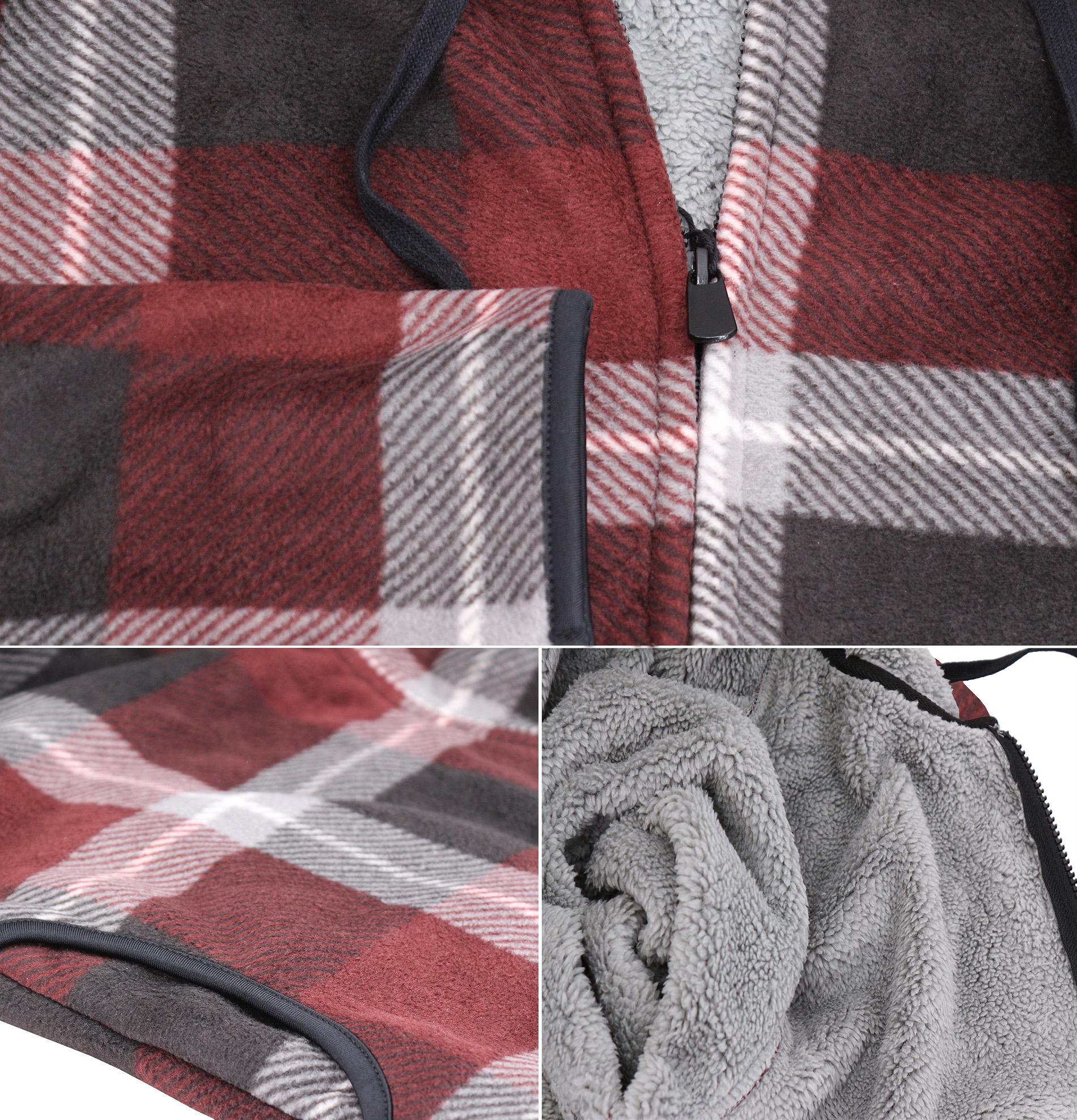 thumbnail 4 - Men-039-s-Casual-Flannel-Zip-Up-Fleece-Lined-Plaid-Sherpa-Hoodie-Lightweight-Jacket