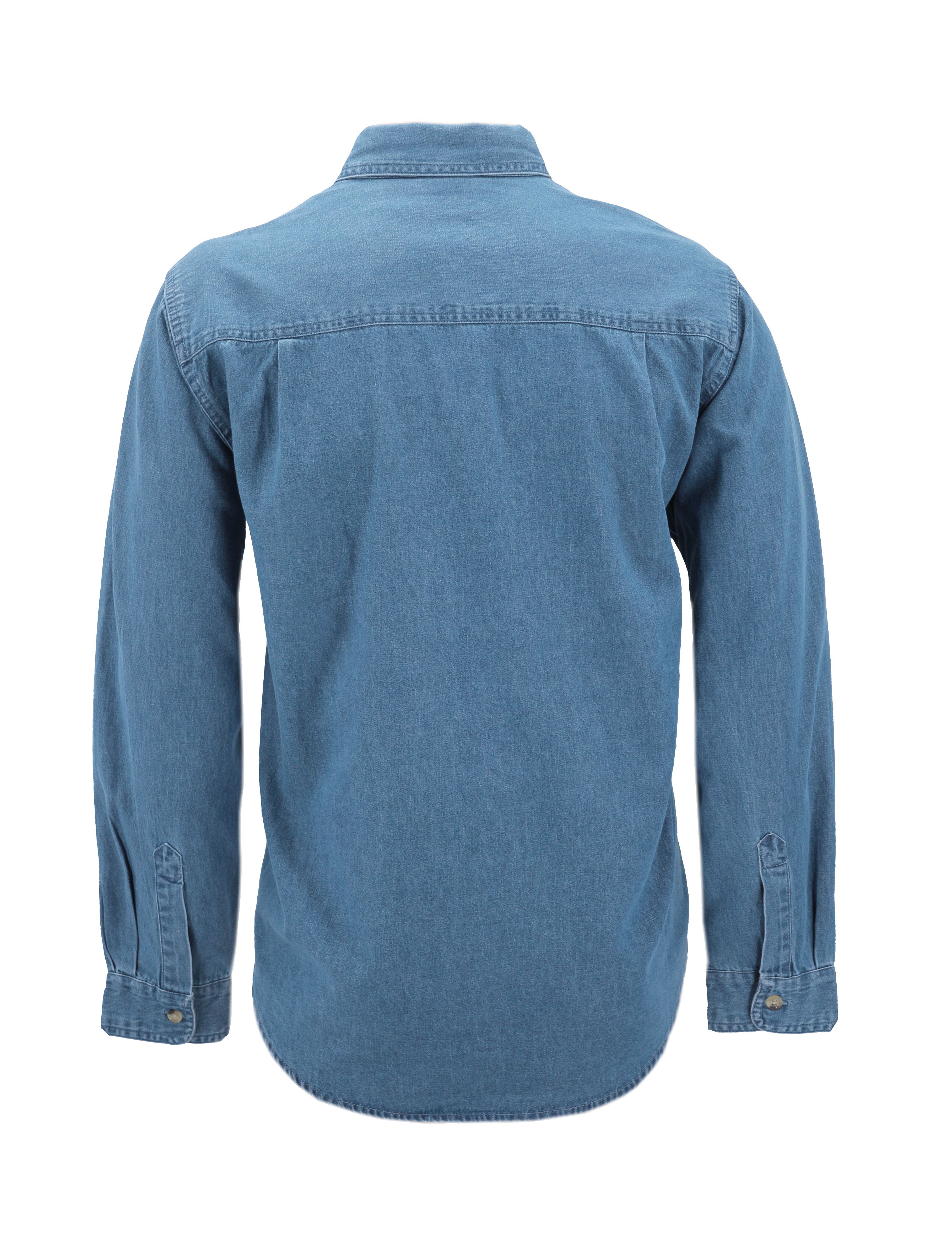Men-039-s-Cotton-Denim-Long-Sleeve-Button-Up-Collared-Classic-Casual-Dress-Shirt thumbnail 6