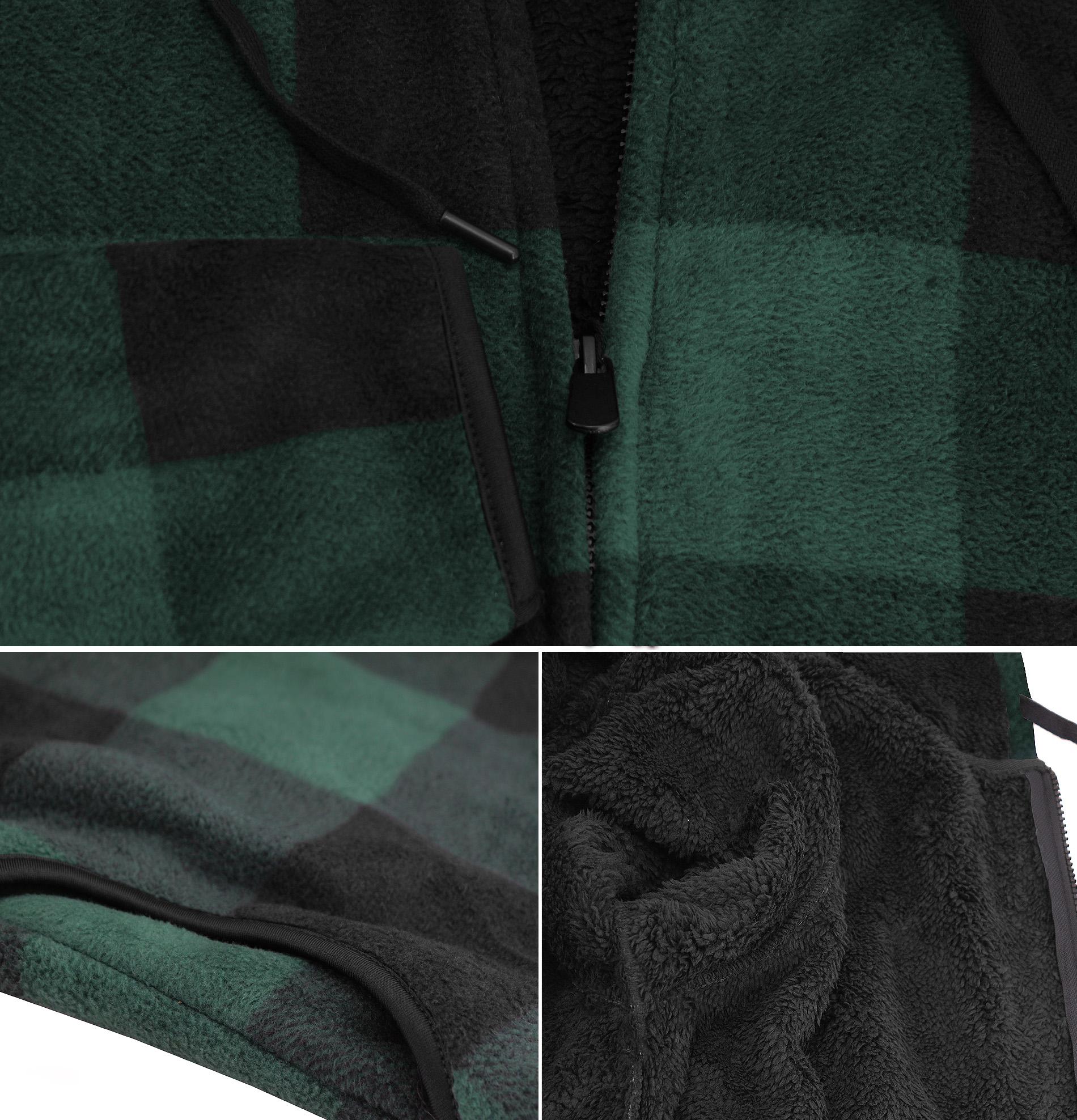 thumbnail 7 - Men-039-s-Casual-Flannel-Zip-Up-Fleece-Lined-Plaid-Sherpa-Hoodie-Lightweight-Jacket