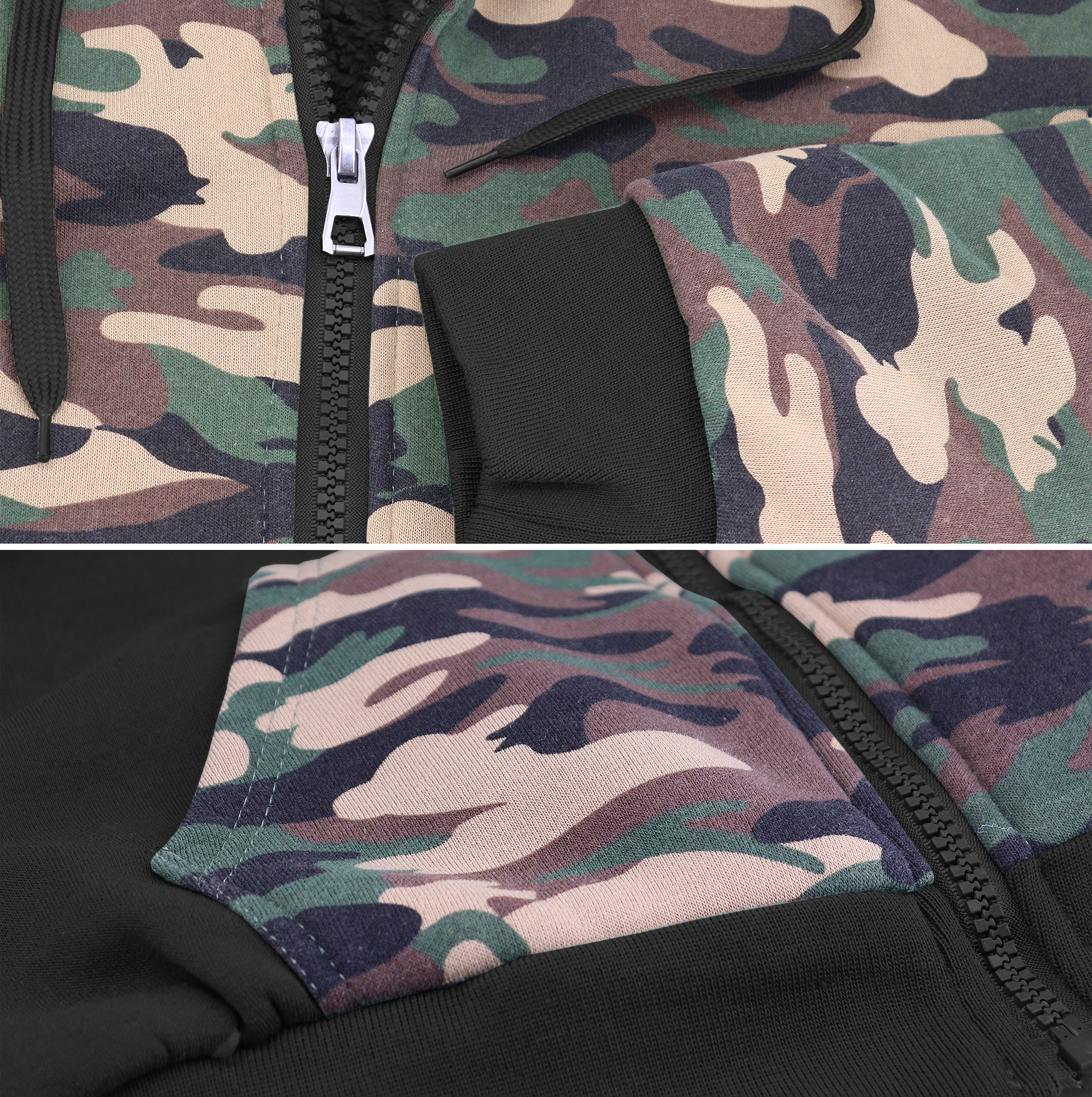 miniature 7 - Men-039-s-Camo-Sherpa-Hoodie-Zip-Up-Athletic-Army-Fleece-Hunting-Sweater-Jacket