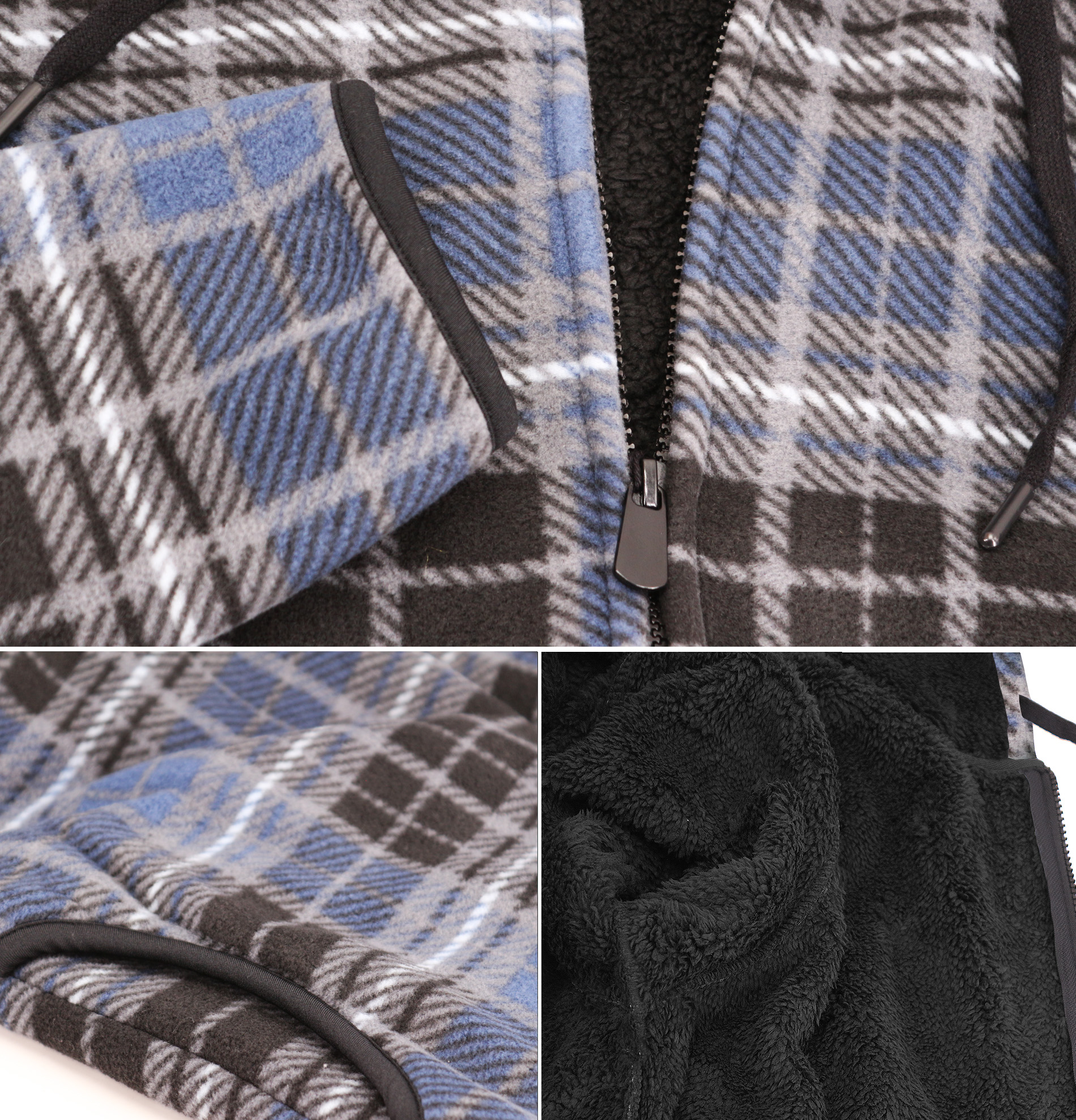 thumbnail 10 - Men-039-s-Casual-Flannel-Zip-Up-Fleece-Lined-Plaid-Sherpa-Hoodie-Lightweight-Jacket
