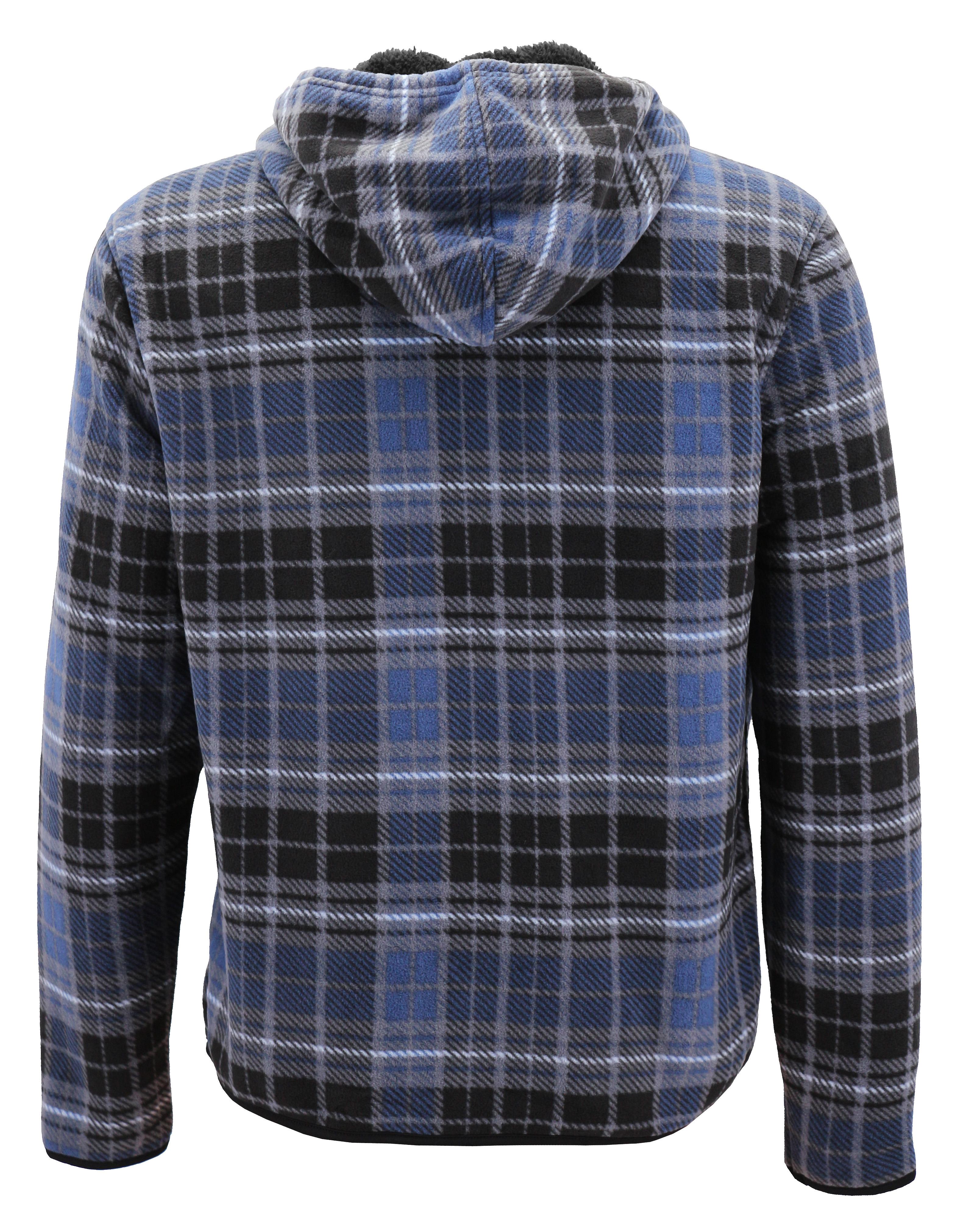 thumbnail 9 - Men-039-s-Casual-Flannel-Zip-Up-Fleece-Lined-Plaid-Sherpa-Hoodie-Lightweight-Jacket