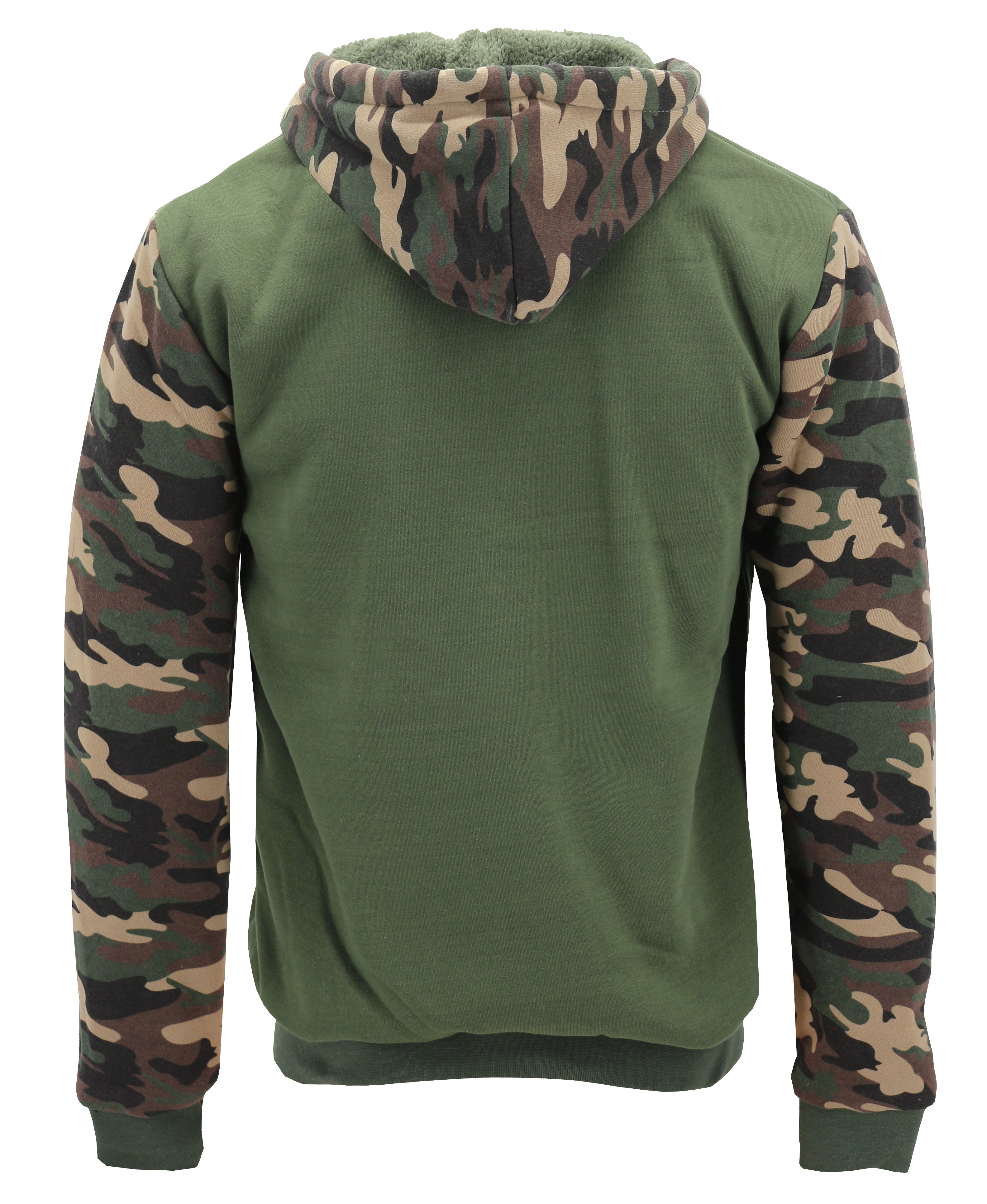 miniature 9 - Men-039-s-Camo-Sherpa-Hoodie-Zip-Up-Athletic-Army-Fleece-Hunting-Sweater-Jacket