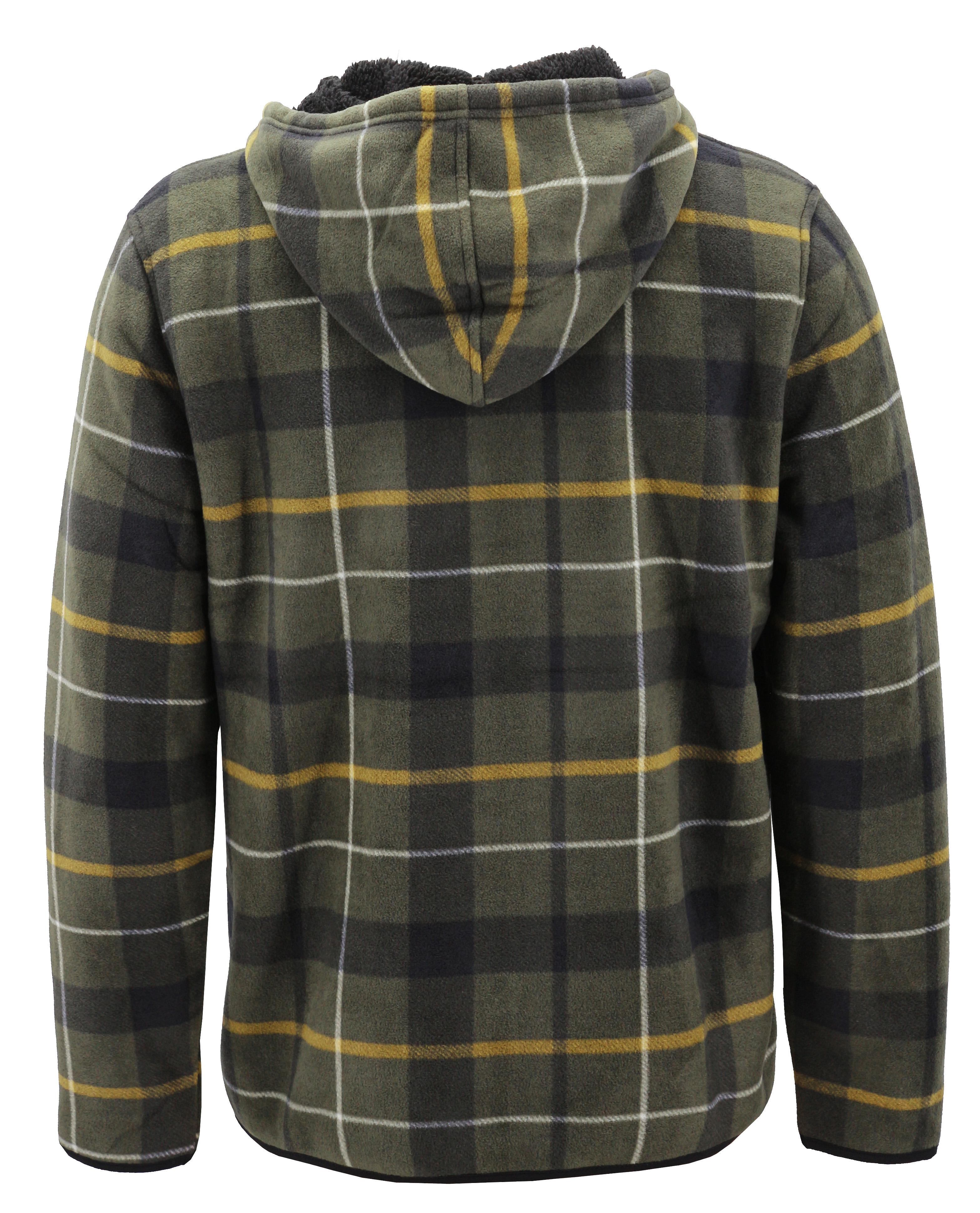 thumbnail 12 - Men-039-s-Casual-Flannel-Zip-Up-Fleece-Lined-Plaid-Sherpa-Hoodie-Lightweight-Jacket