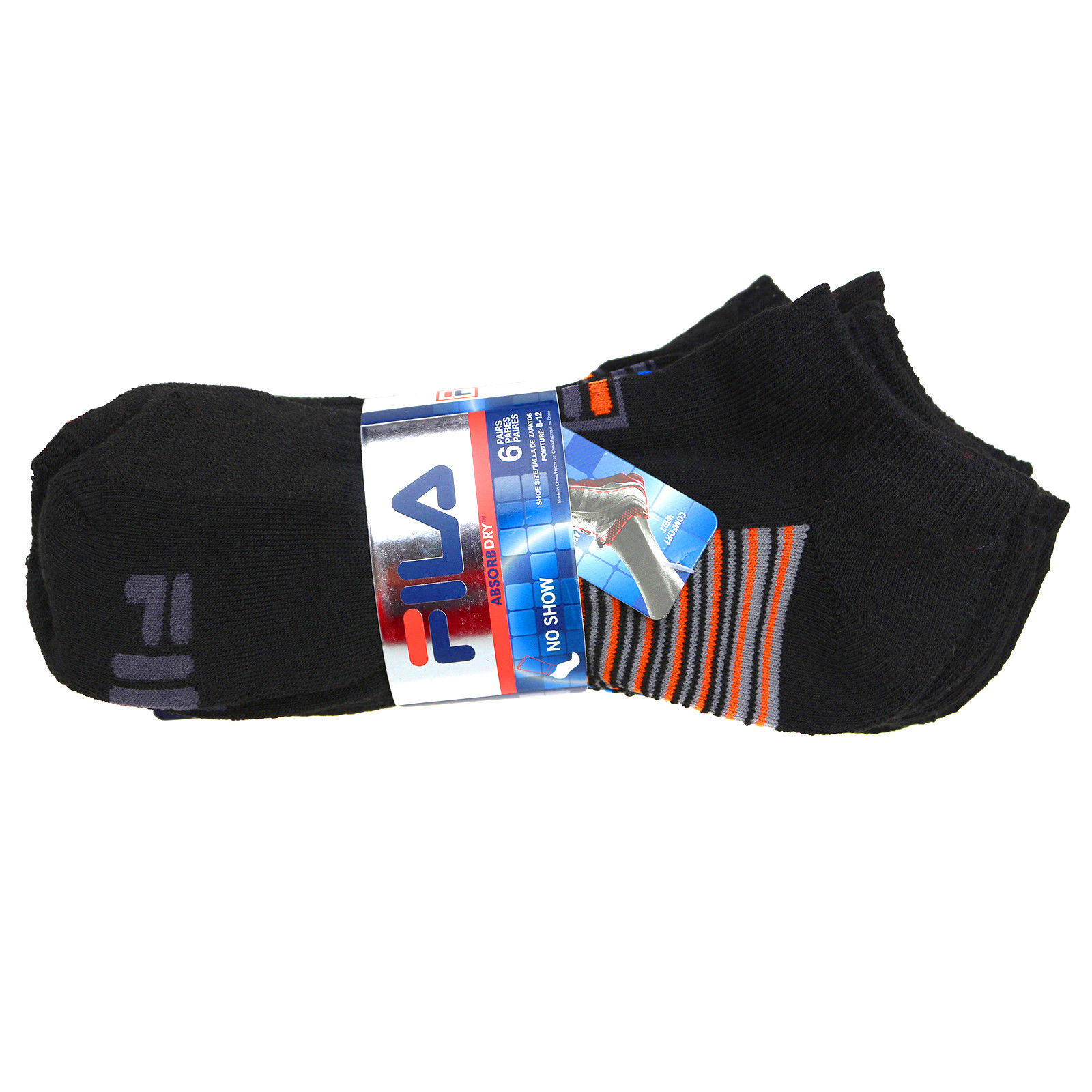 FILA-Men-039-s-6-Pack-Classic-Sport-Athletic-Gym-Moisture-Control-Absorb-Dry-Socks miniature 3