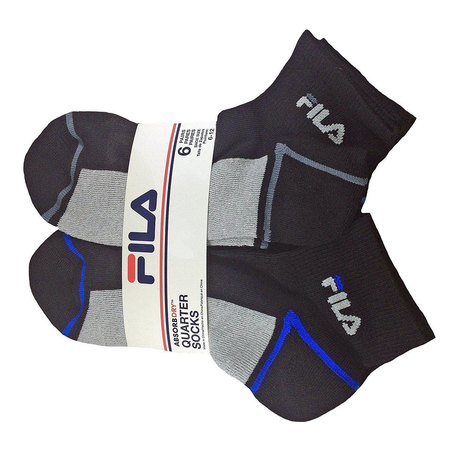 FILA-Men-039-s-6-Pack-Classic-Sport-Athletic-Gym-Moisture-Control-Absorb-Dry-Socks miniature 20