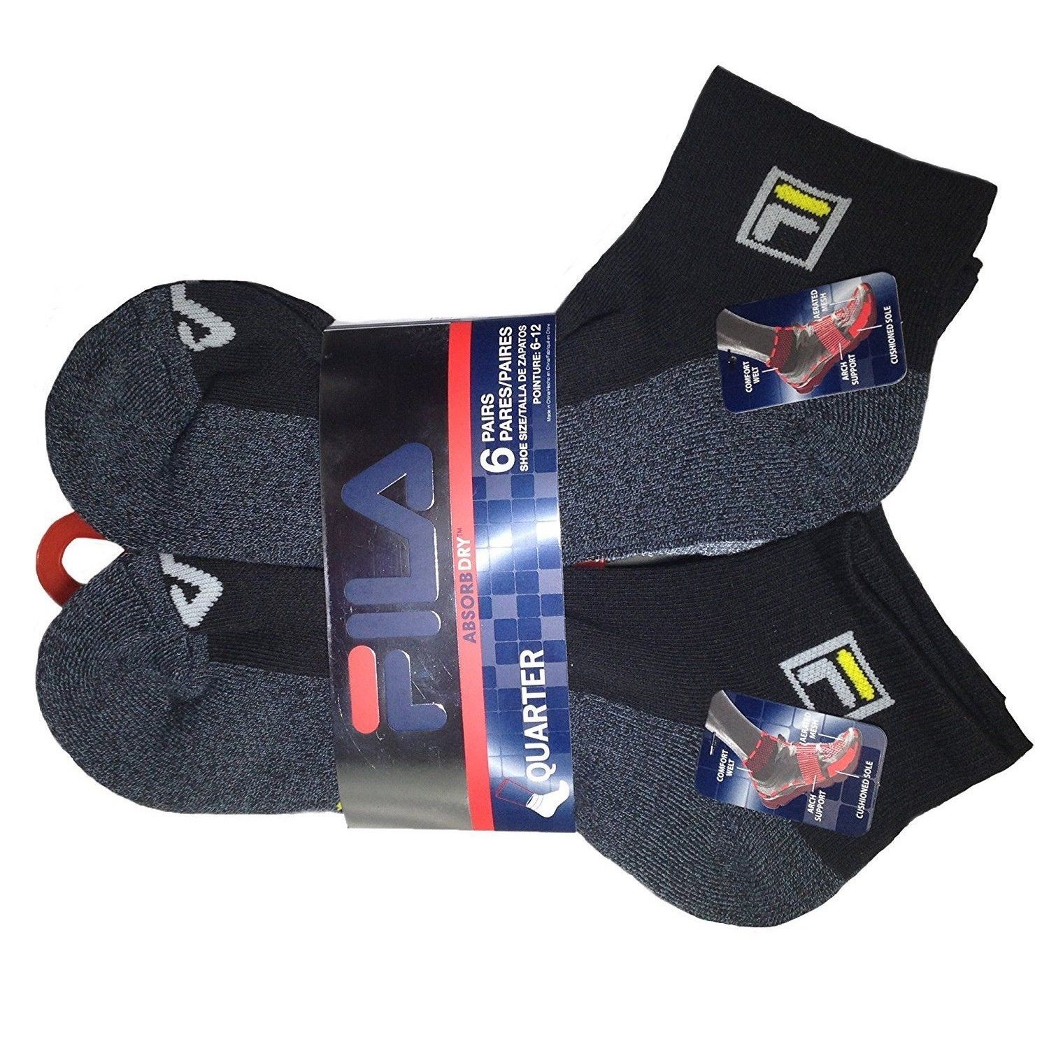 FILA-Men-039-s-6-Pack-Classic-Sport-Athletic-Gym-Moisture-Control-Absorb-Dry-Socks miniature 31