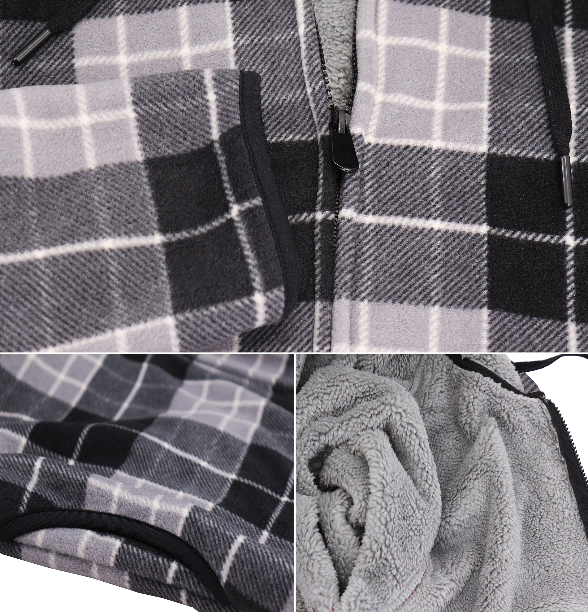 thumbnail 16 - Men-039-s-Casual-Flannel-Zip-Up-Fleece-Lined-Plaid-Sherpa-Hoodie-Lightweight-Jacket
