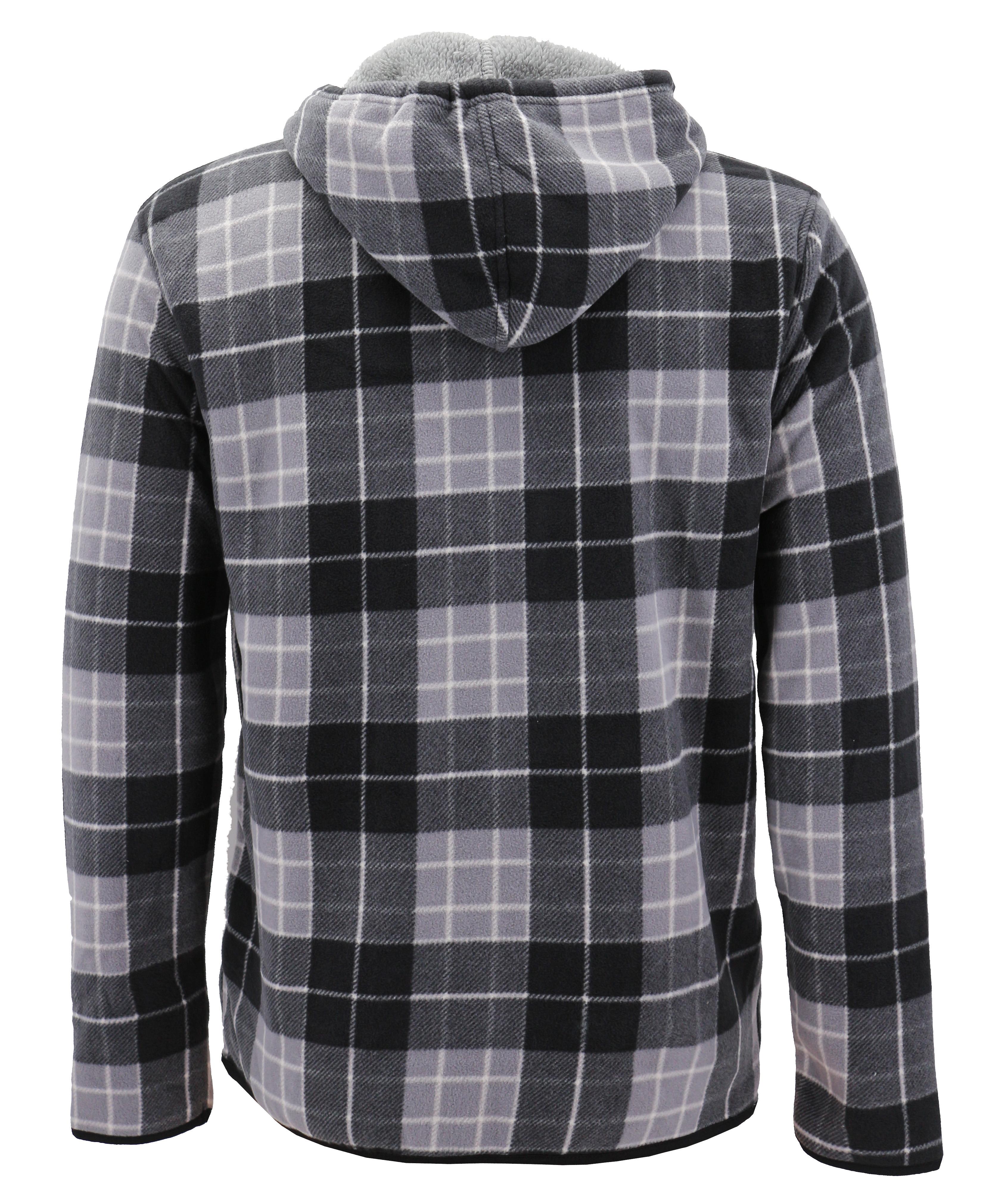 thumbnail 15 - Men-039-s-Casual-Flannel-Zip-Up-Fleece-Lined-Plaid-Sherpa-Hoodie-Lightweight-Jacket