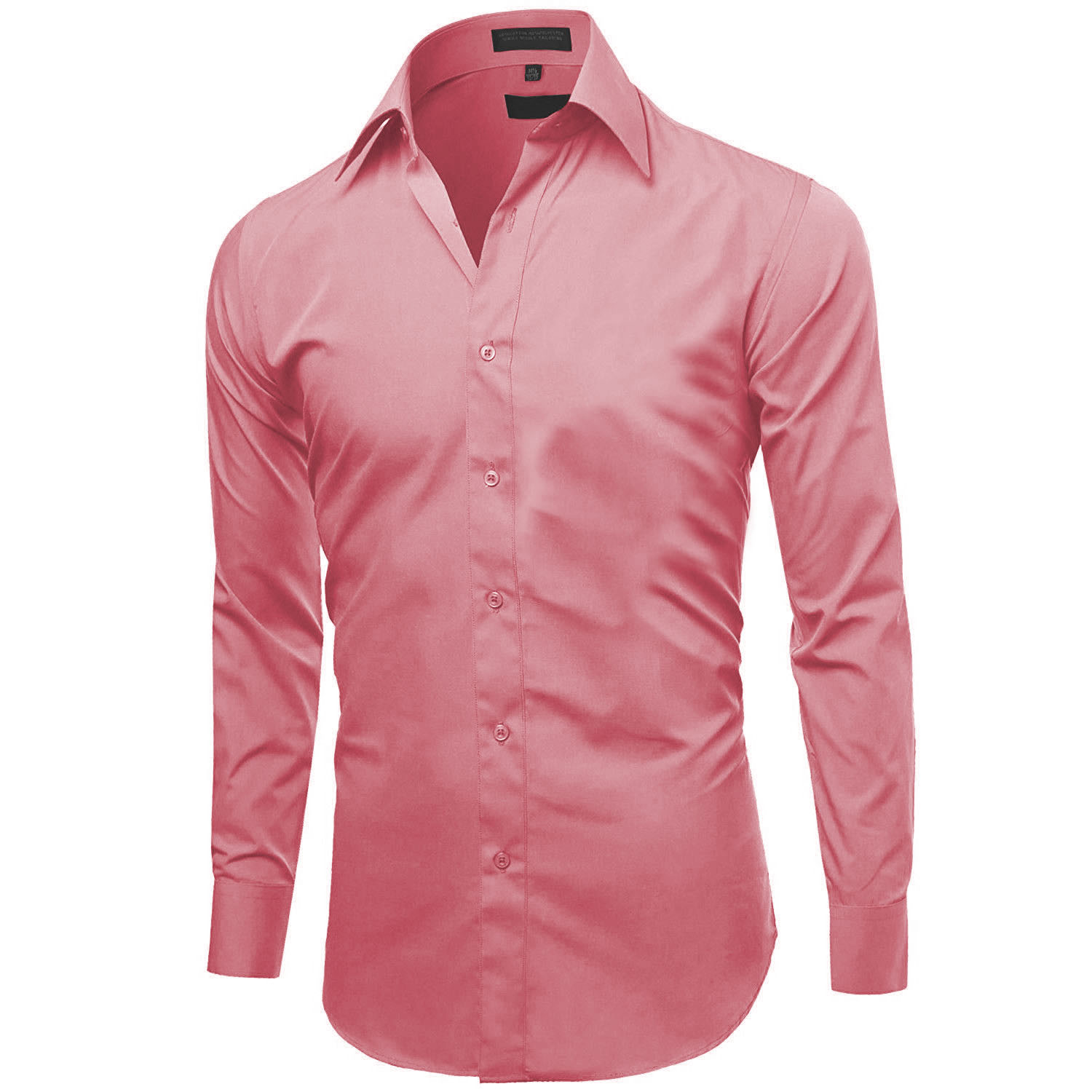 Omega-Italy-Men-039-s-Premium-Slim-Fit-Button-Up-Long-Sleeve-Solid-Color-Dress-Shirt thumbnail 78