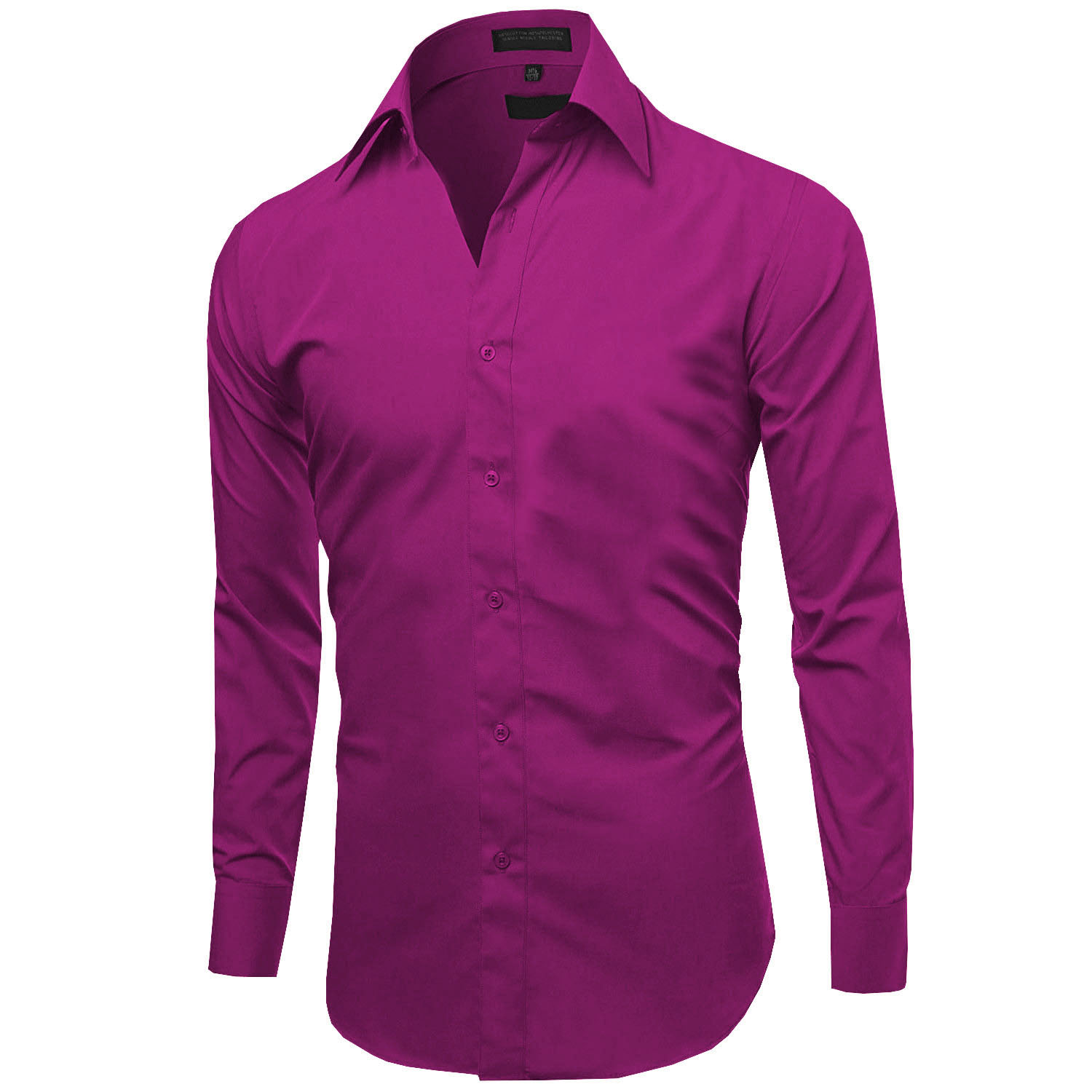 Omega-Italy-Men-039-s-Premium-Slim-Fit-Button-Up-Long-Sleeve-Solid-Color-Dress-Shirt thumbnail 83
