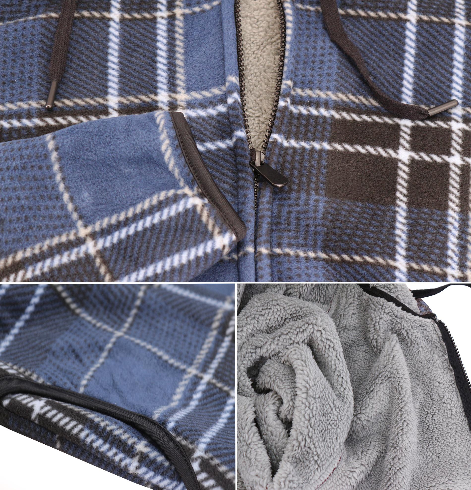 thumbnail 19 - Men-039-s-Casual-Flannel-Zip-Up-Fleece-Lined-Plaid-Sherpa-Hoodie-Lightweight-Jacket