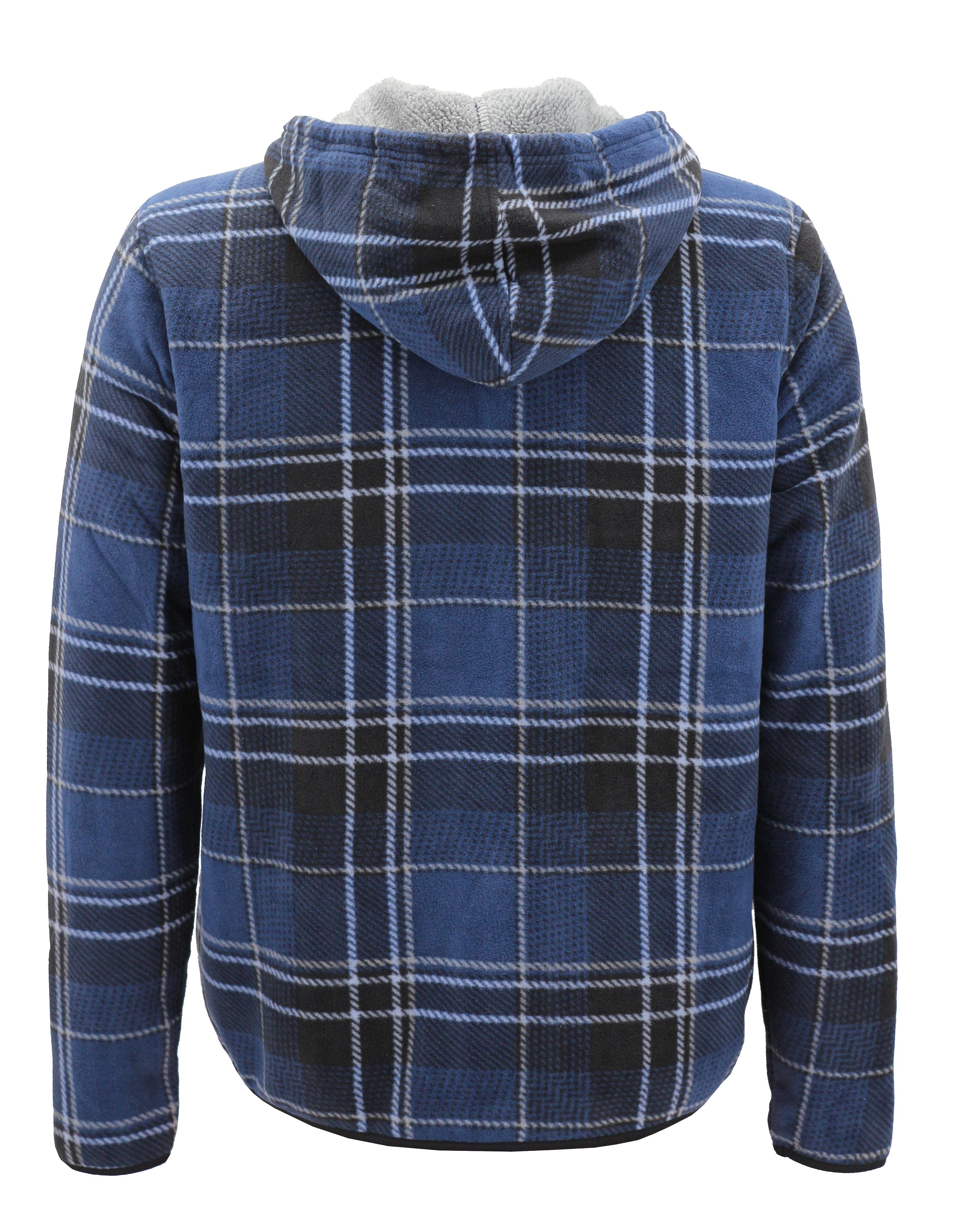 thumbnail 18 - Men-039-s-Casual-Flannel-Zip-Up-Fleece-Lined-Plaid-Sherpa-Hoodie-Lightweight-Jacket