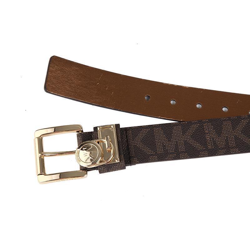c881f0c3d70e5 Michael Kors Women s MK Logo Premium Faux Leather Belt Hamilton Lock ...