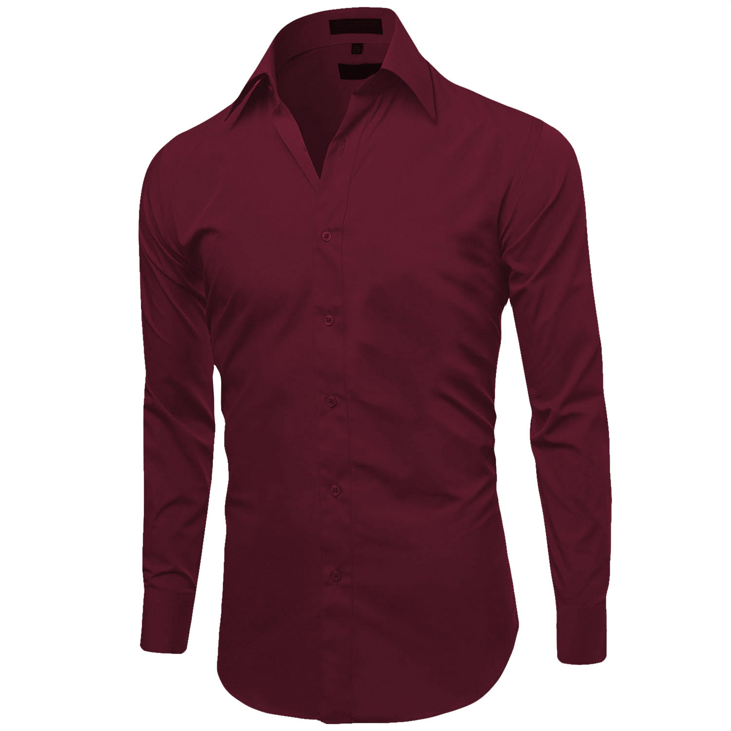 Omega-Italy-Men-039-s-Premium-Slim-Fit-Button-Up-Long-Sleeve-Solid-Color-Dress-Shirt thumbnail 108