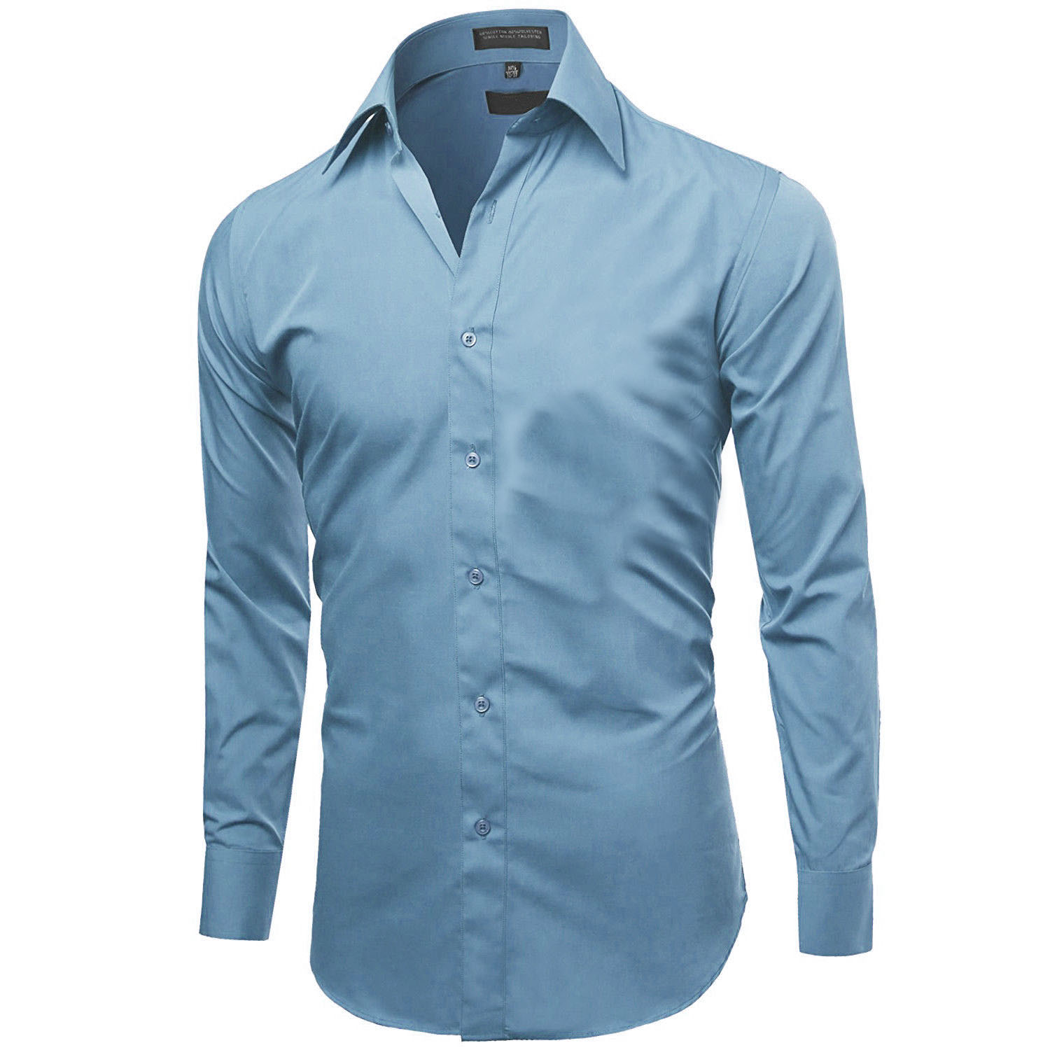 Omega-Italy-Men-039-s-Premium-Slim-Fit-Button-Up-Long-Sleeve-Solid-Color-Dress-Shirt thumbnail 38