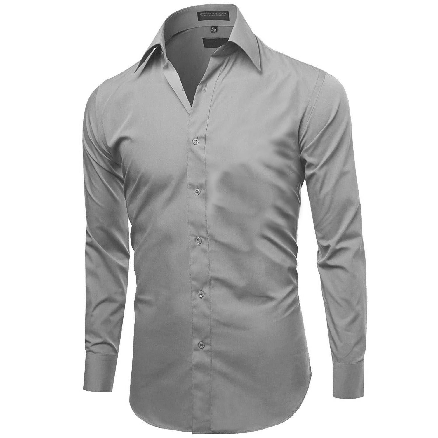 Omega-Italy-Men-039-s-Premium-Slim-Fit-Button-Up-Long-Sleeve-Solid-Color-Dress-Shirt thumbnail 43