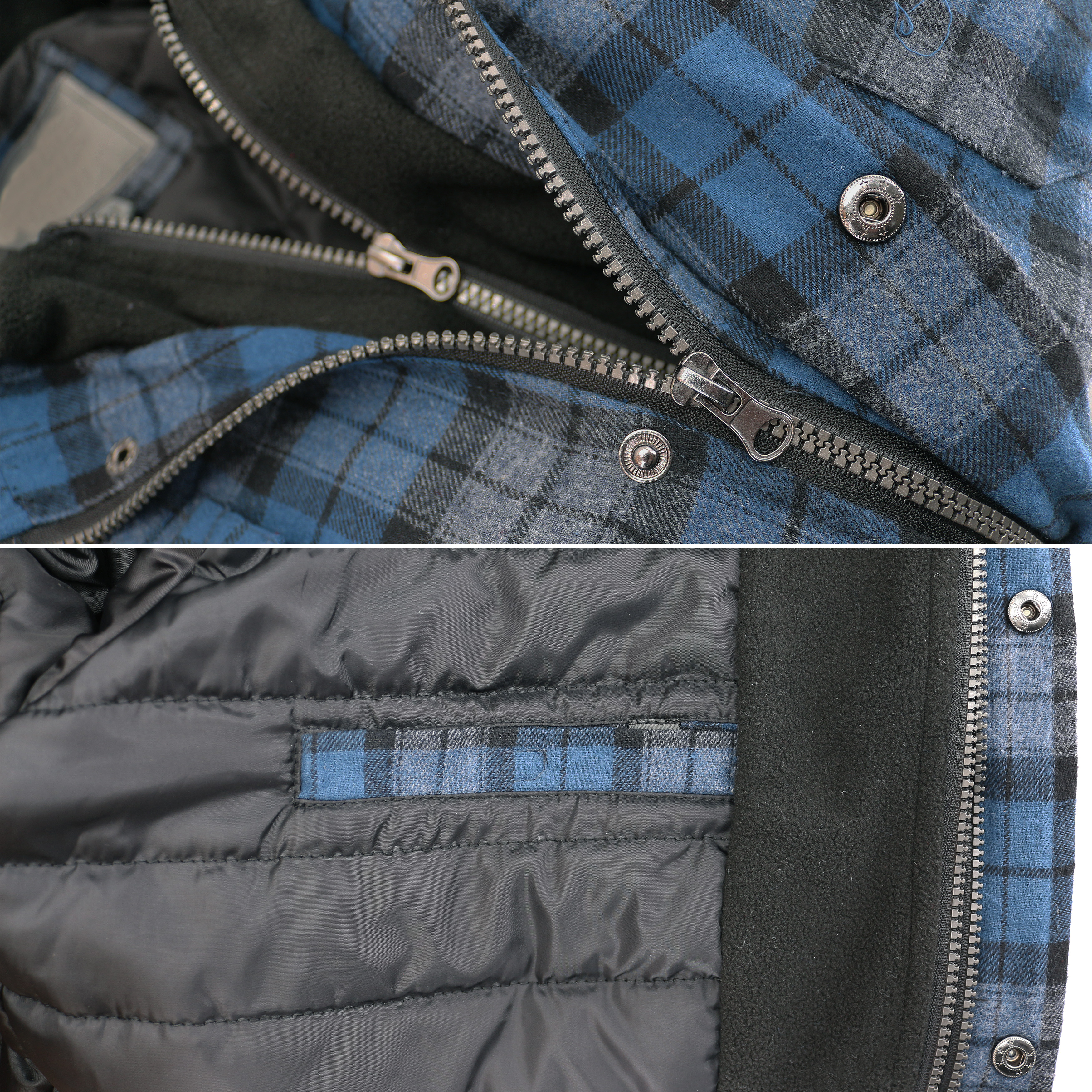 vkwear-Men-039-s-Quilted-Lined-Cotton-Plaid-Flannel-Layered-Zip-Up-Hoodie-Jacket thumbnail 5