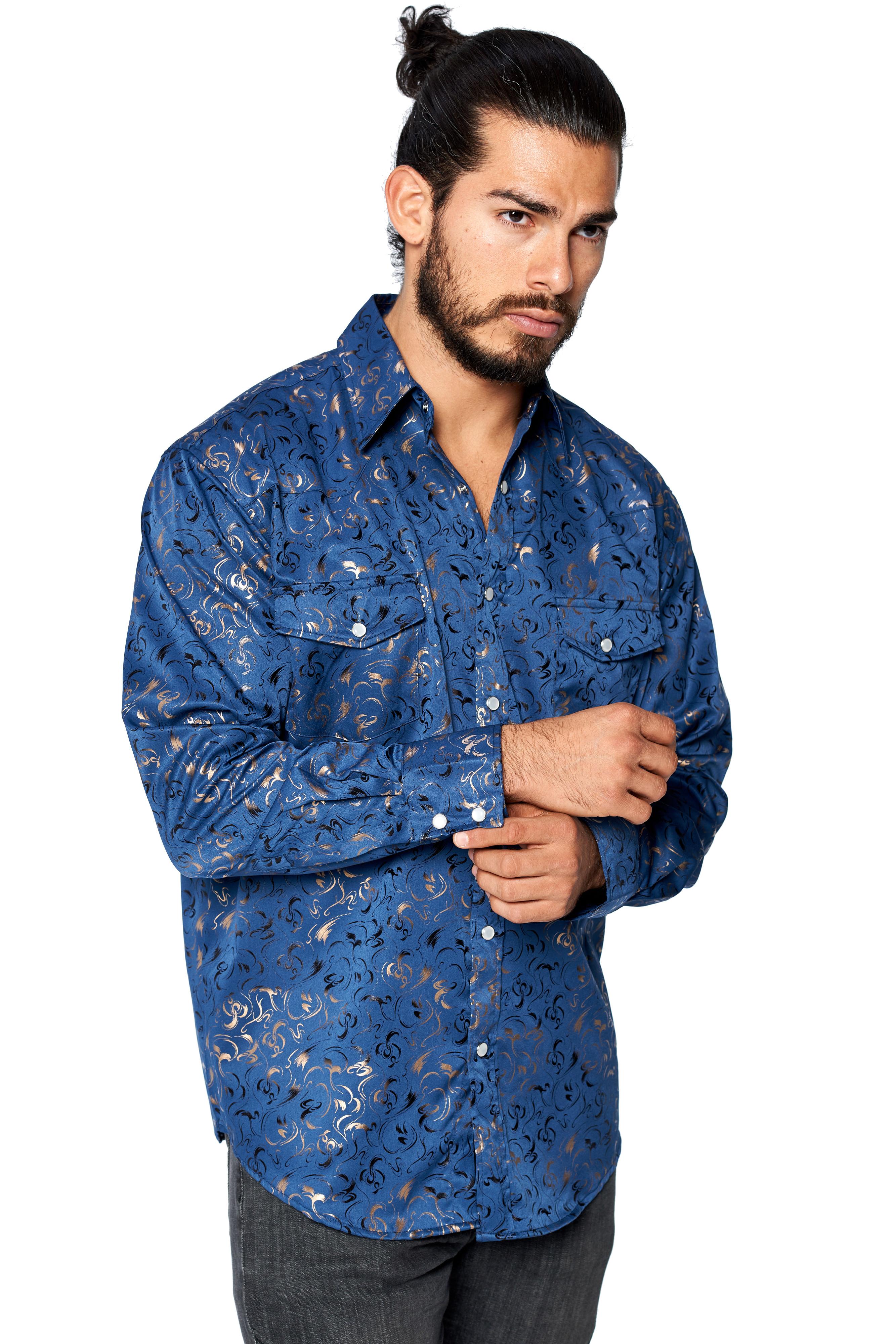 LW-Men-039-s-Pearl-Snap-Tribal-Stylish-Printed-Woven-Western-Vaquero-Rodeo-Shirt thumbnail 6