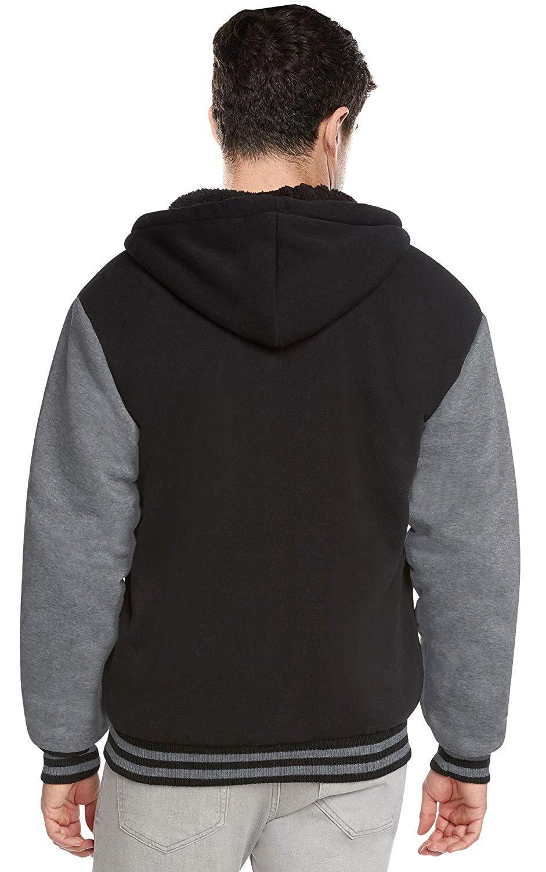 Men-039-s-Hooded-Sherpa-Fleece-Lined-Varsity-Zip-Up-Two-Tone-Hoodie-Jacket-2-TOON thumbnail 3