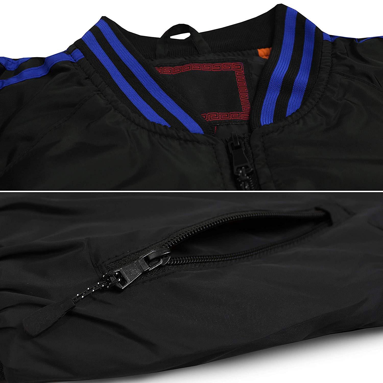 Men/'s Slim Fit Striped Zip Up Water Resistant Flight Bomber Jacket TONY