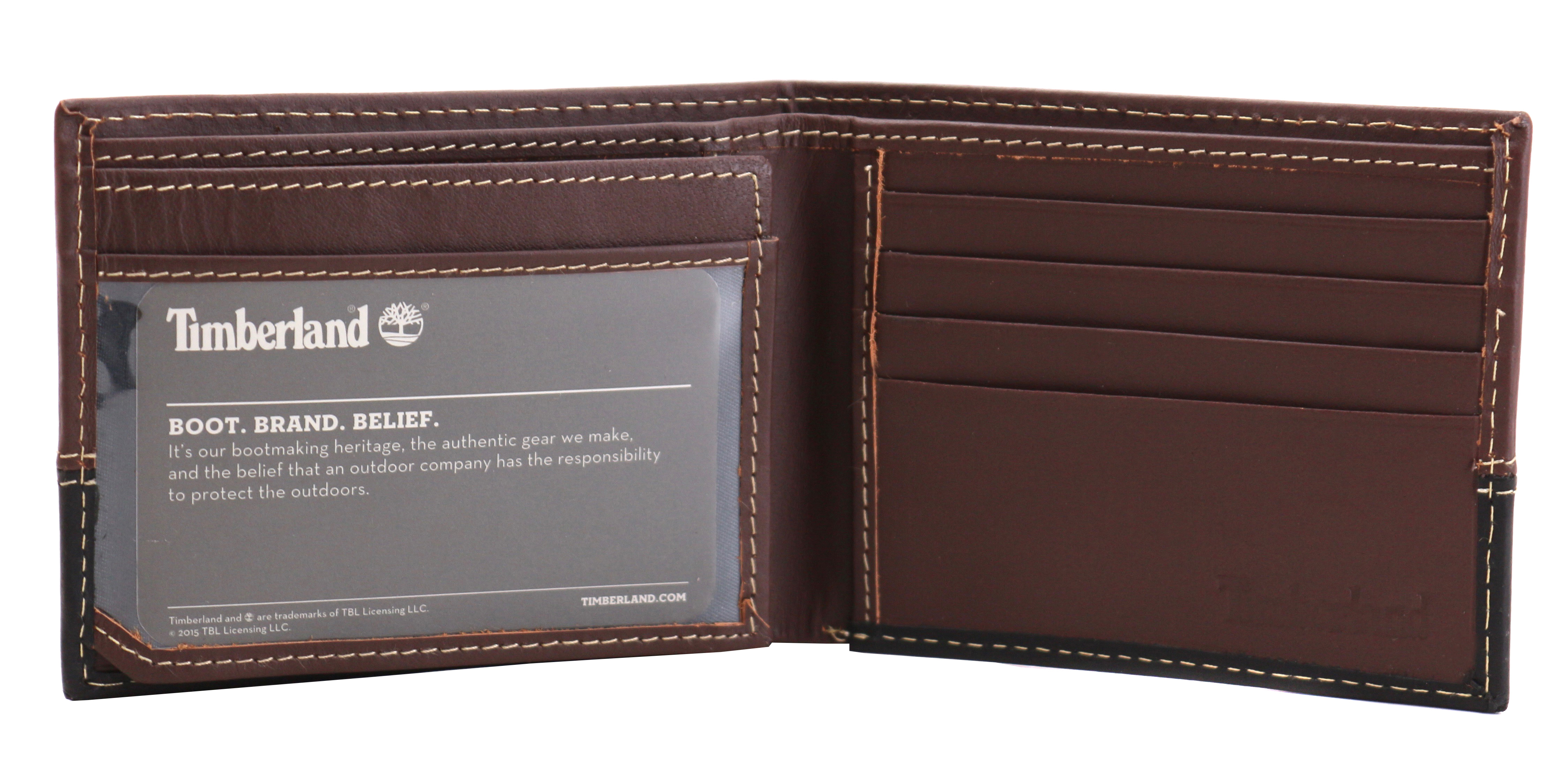 Timberland-Men-039-s-Genuine-Two-Tone-Leather-Credit-Card-Billfold-Commuter-Wallet thumbnail 4